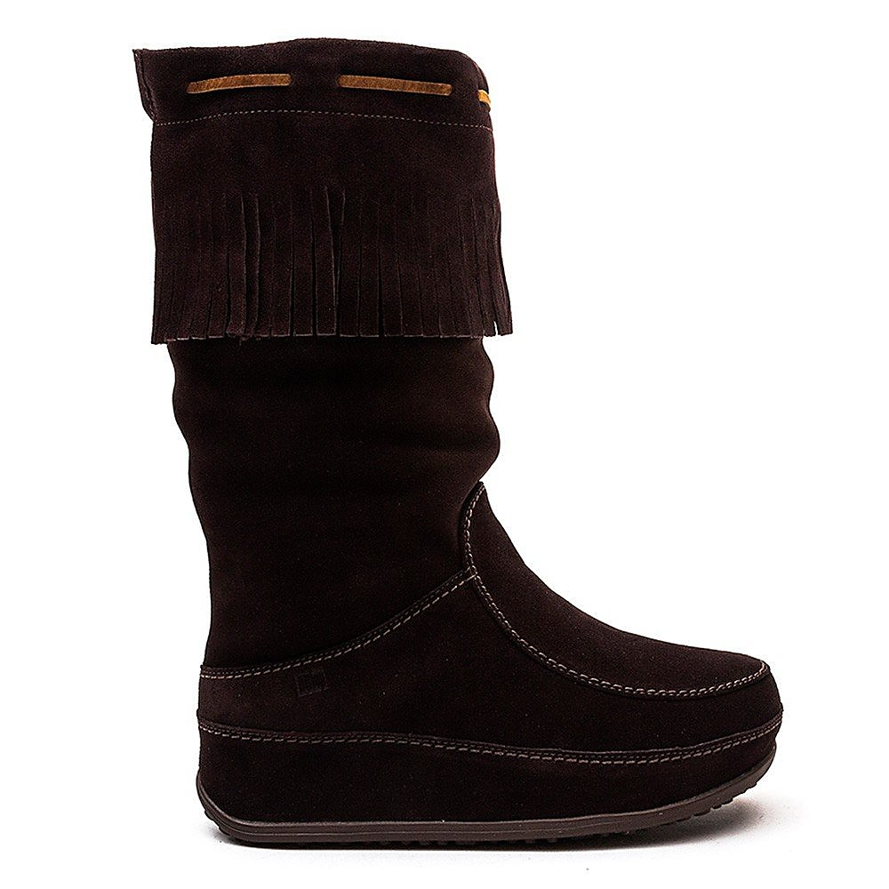 FitFlop  Mukluk Fringed Knee-High Boots - Chocolate