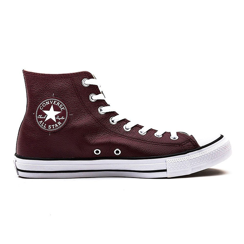 Converse  All Star High Deep Leather Trainers - Bordeaux