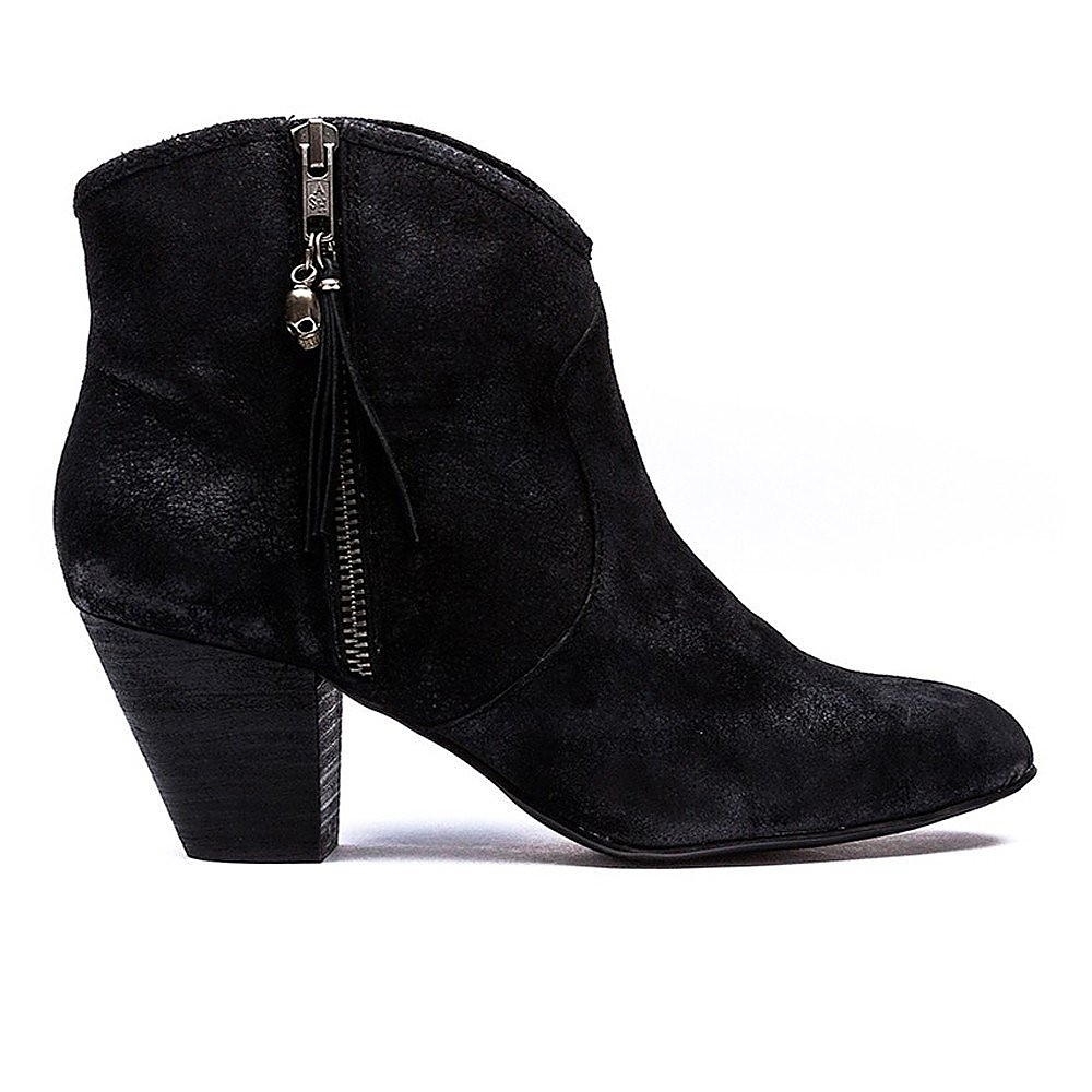 Ash Women's Jess Reverse Suede Stack Heel Ankle Boot - Black