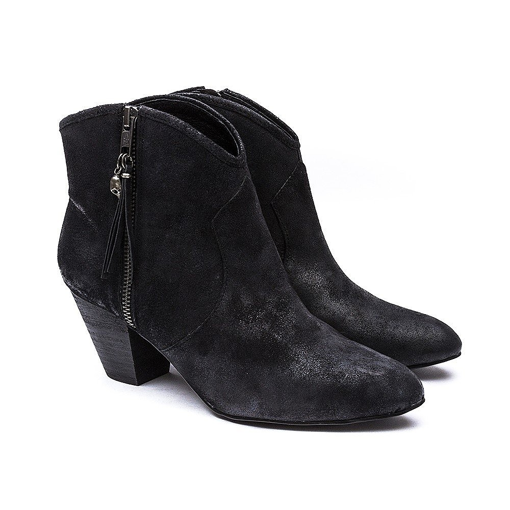 Ash Women's Jess Reverse Suede Stack Heel Ankle Boot - Black