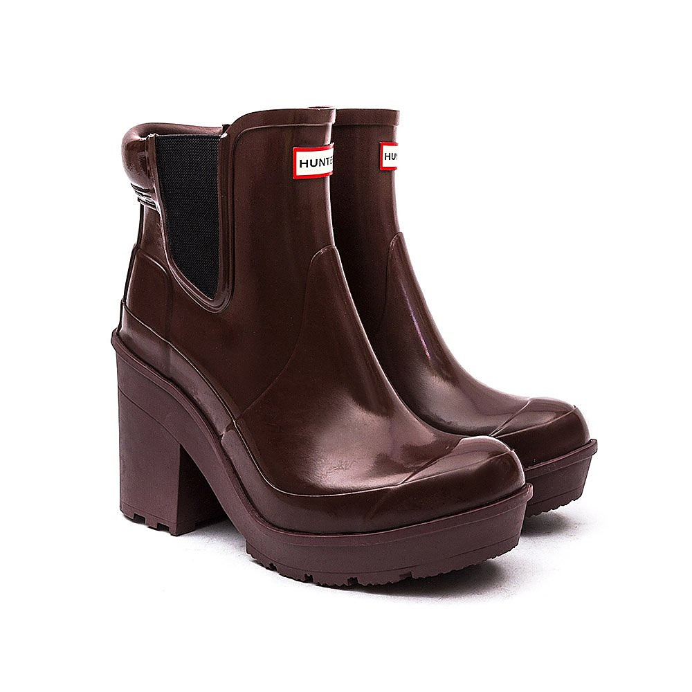Hunter Wellies Womens Original Block Heel Chelsea - Umber Red