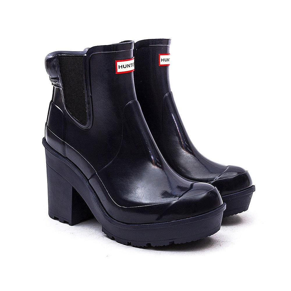 Hunter Wellies Original Block Heel Chelsea Gloss