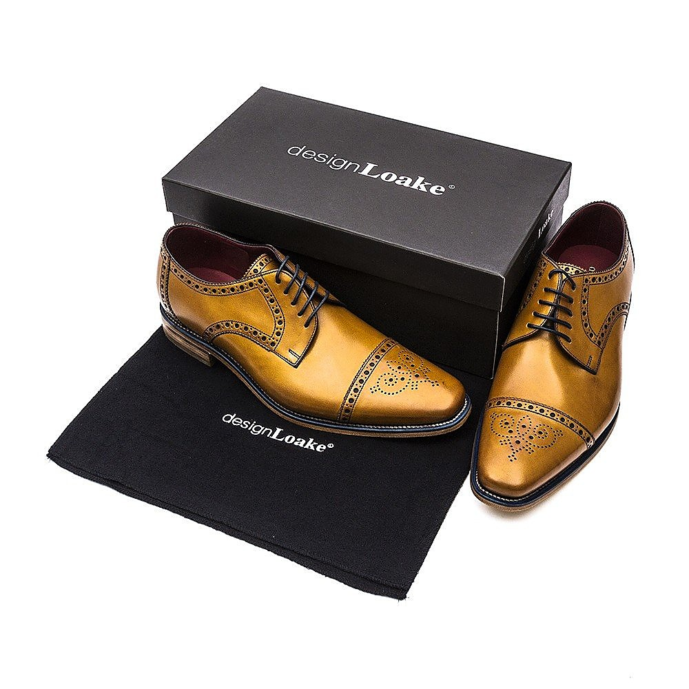 Loake Men's Foley Leather Oxford Brogues - Tan