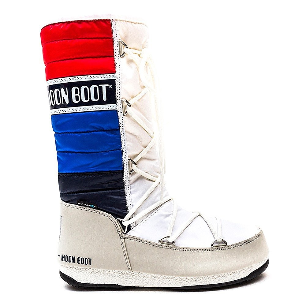 Moon Boots  MB WE Quilted Womens Boot - White/Blue/Red
