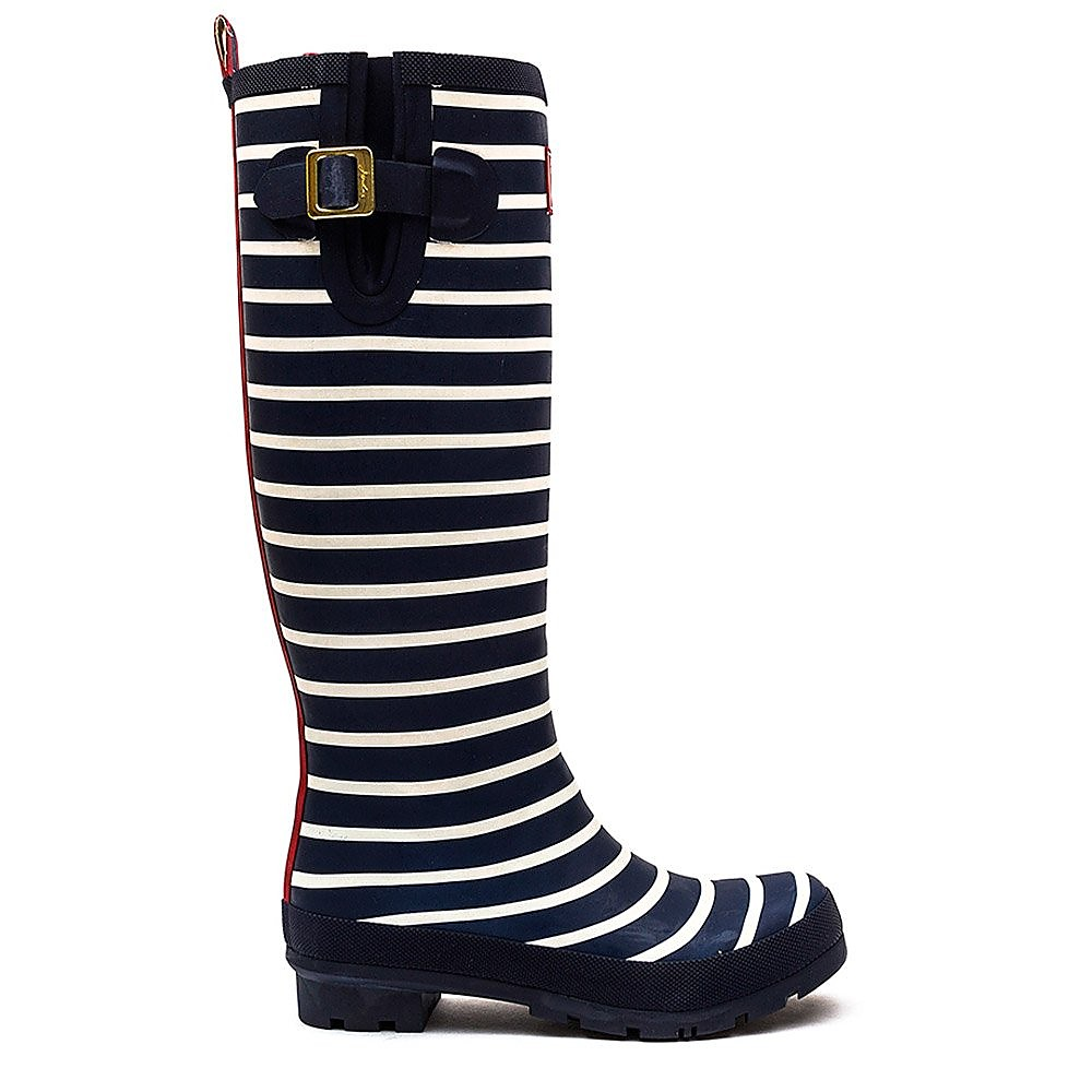 Joules Women's Wellyprint Stripe Rubber Wellington Boots - French Navy