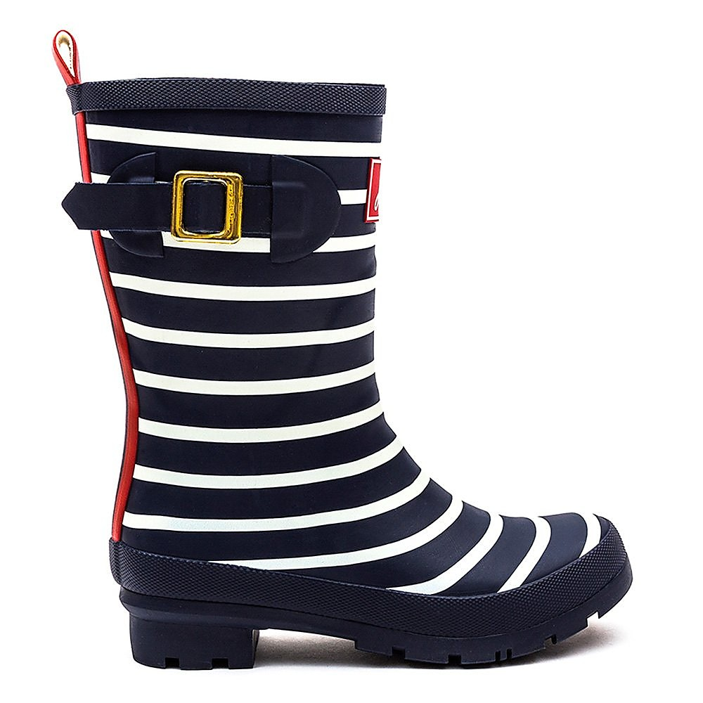 Joules Women's Molly Stripe Rubber Mid-Height Wellington Boots - French Navy