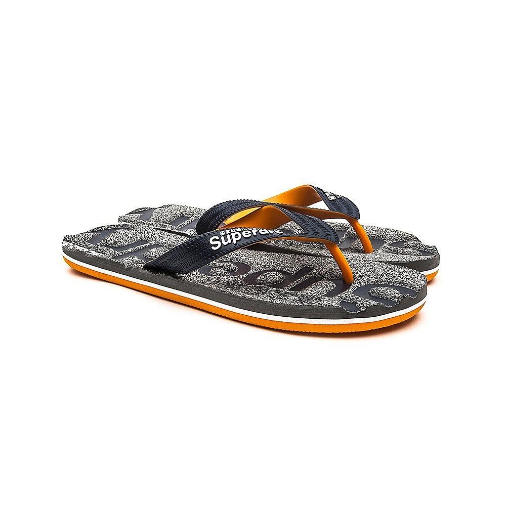 Superdry Mens Scuba Marl Flip Flop - Grey Fleck/Navy/Jaffa