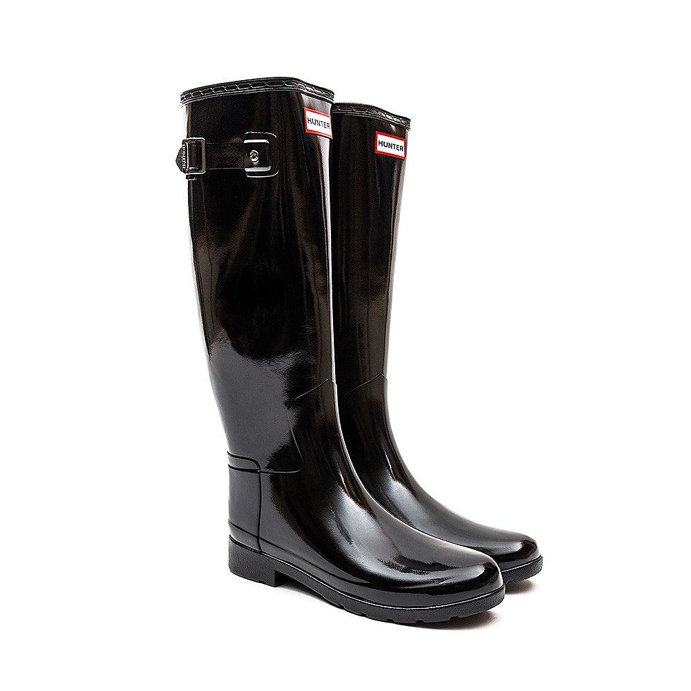 Hunter Wellies Womens Original Refined - Black Gloss