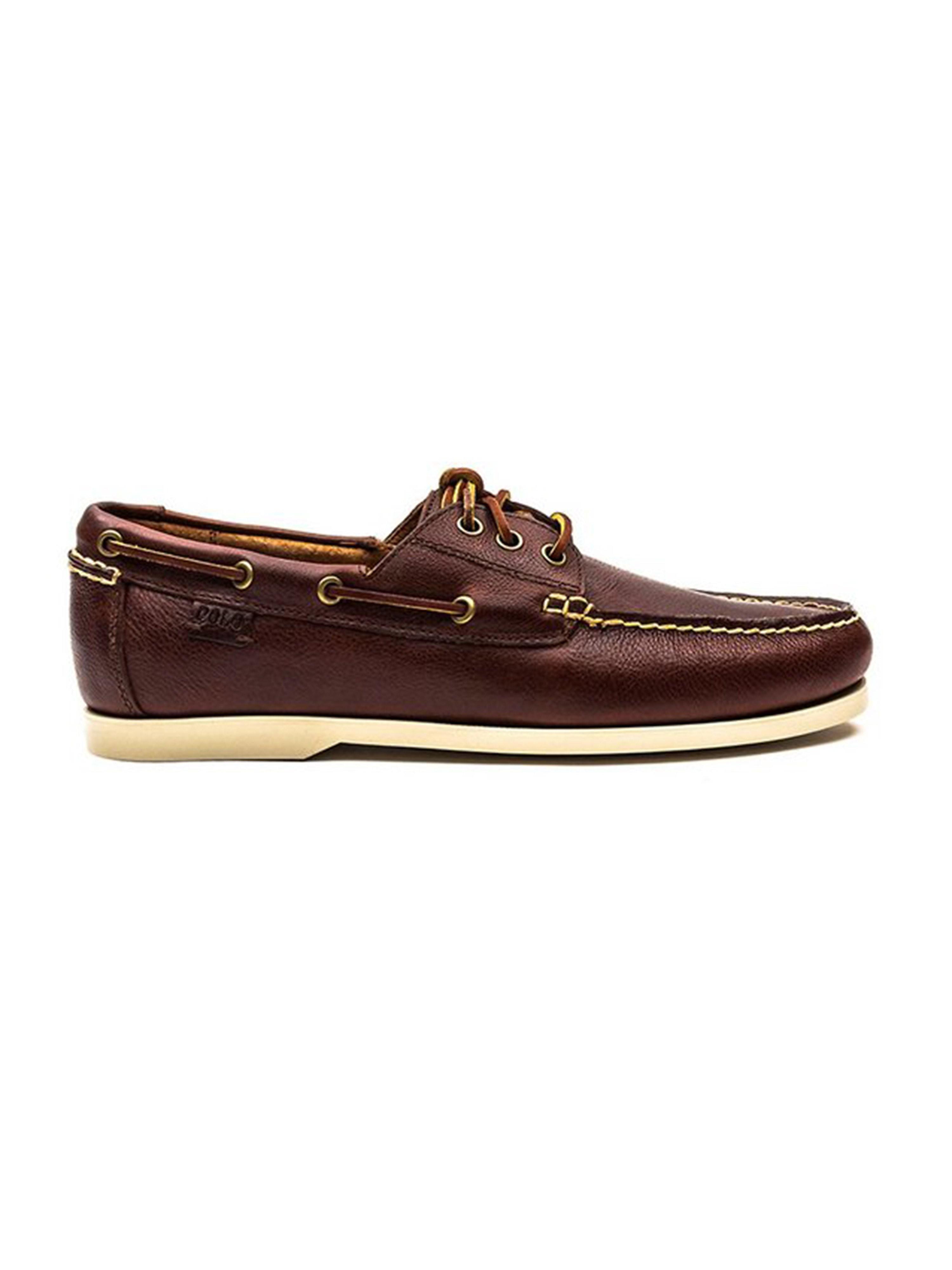 Polo  Leather Mens Boat Shoe - Tan