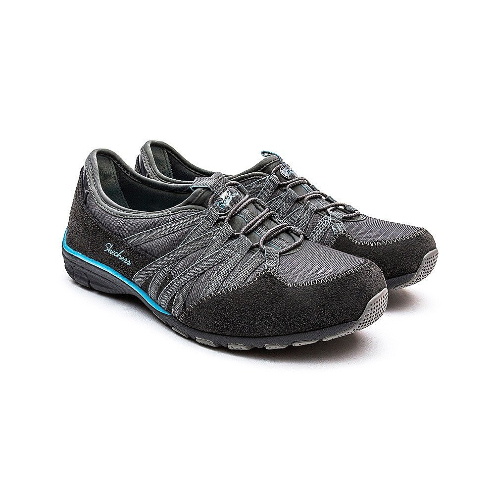 Skechers Womens Conversation Holding Aces Trainers - Charcoal/Light Blue