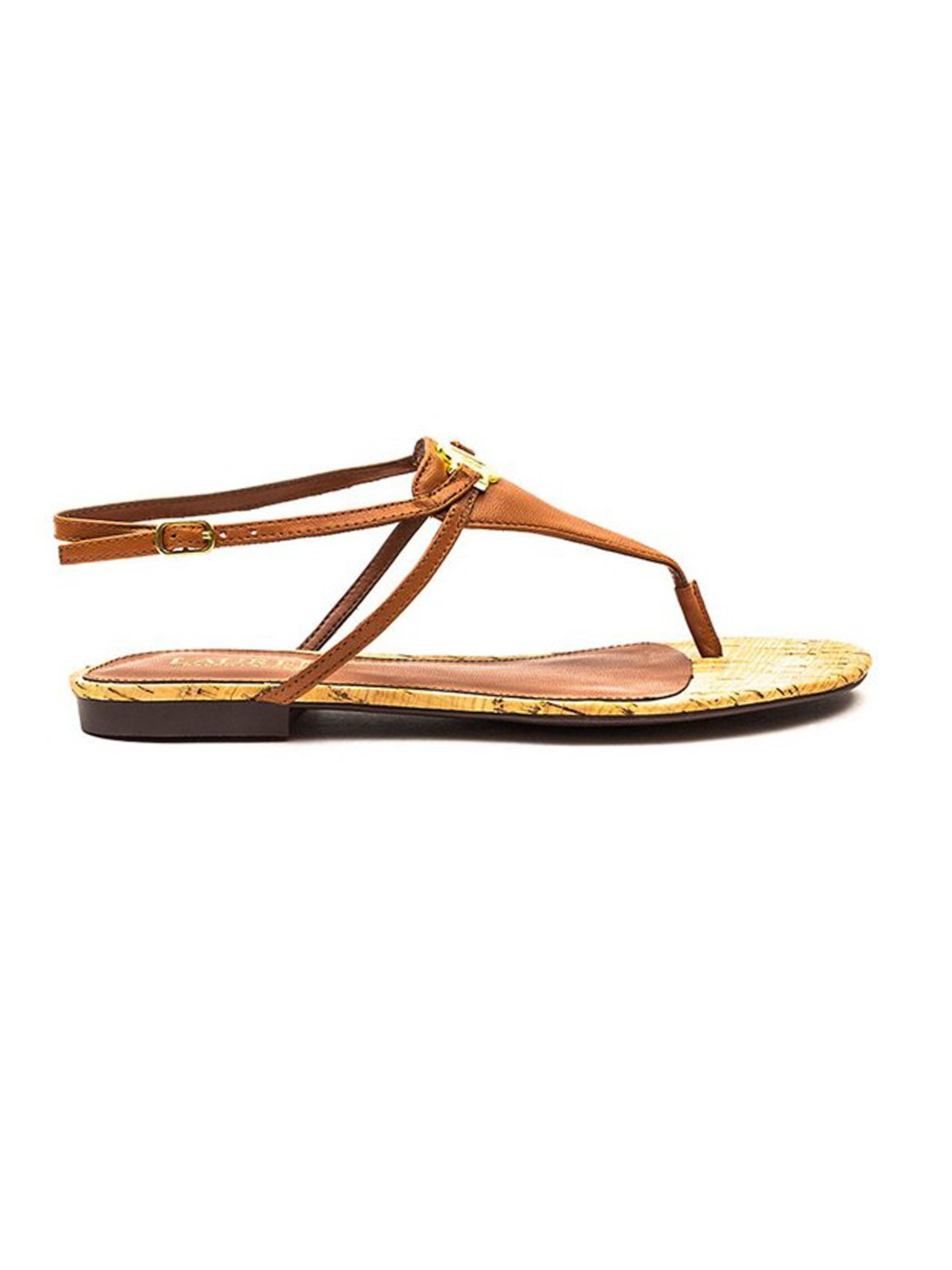 Lauren Ralph Lauren Women's Anita Leather Toe Post Sandals - Tan