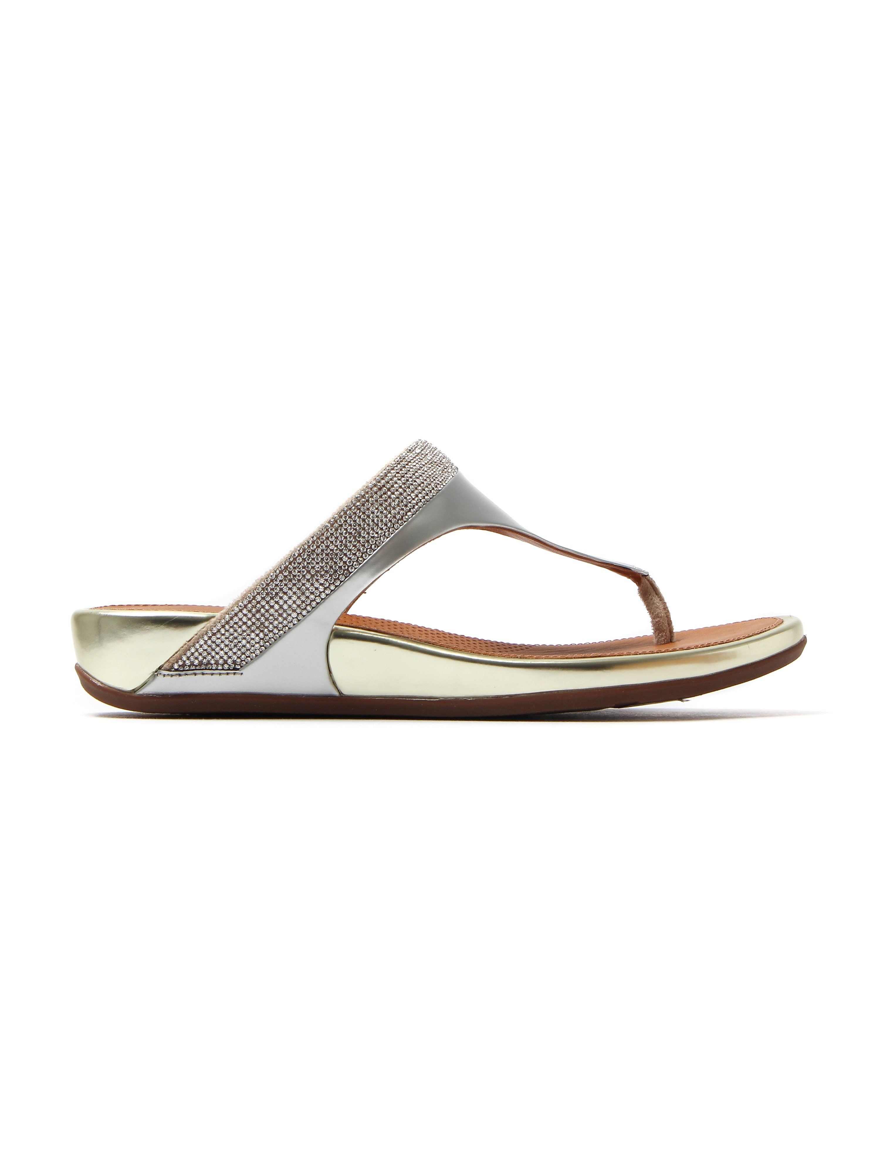 FitFlop Banda™ Micro-Crystal Toe Post Sandals - Pale Gold