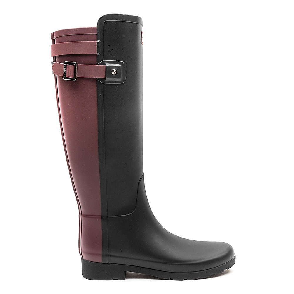 Hunter Wellies Womens Original Refined Back Strap - Dulse/Black
