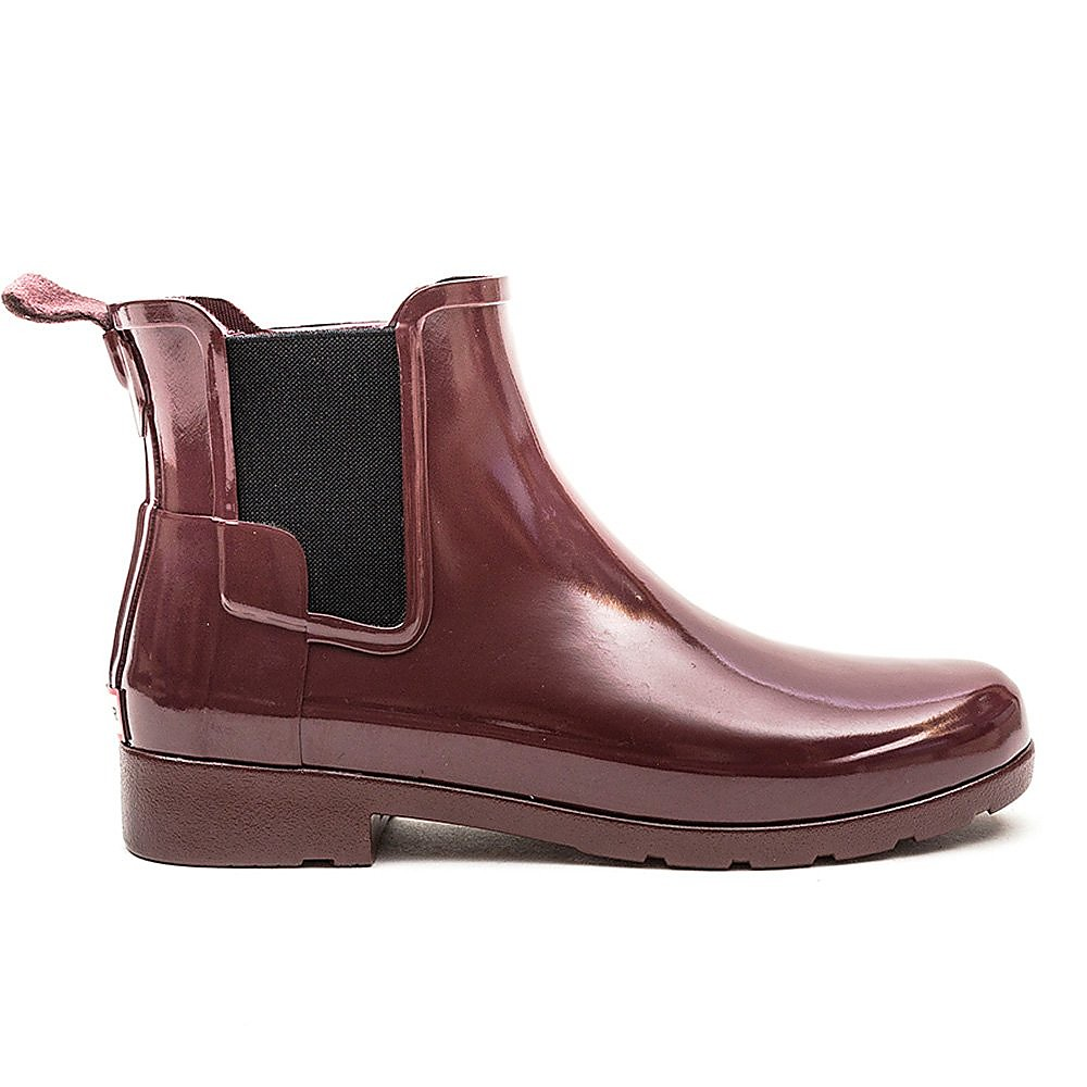 Hunter Wellies Womens Original Refined Chelsea - Dulse Red Gloss