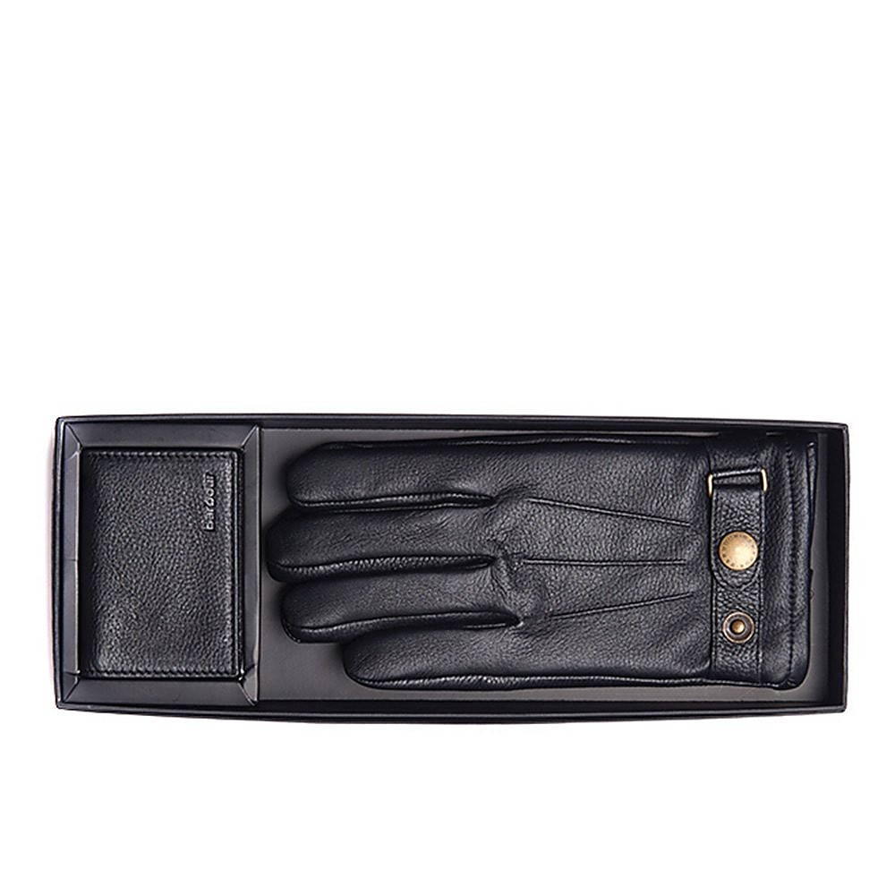 Barbour Barbour Leather Gloves and Wallet Gift Box - Black