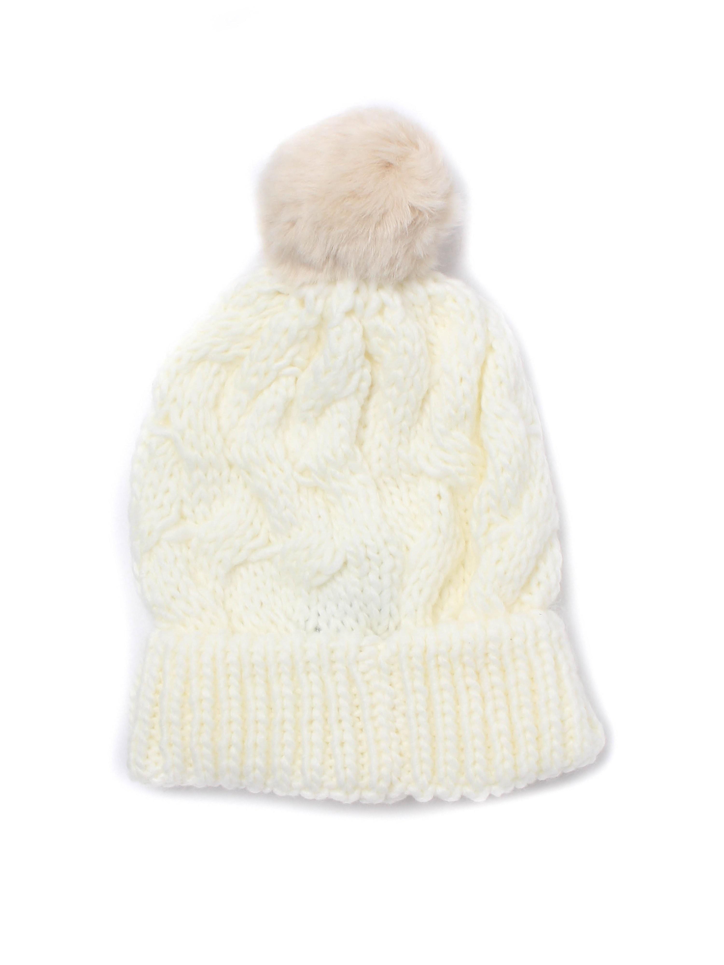 Barbour Fur Pom Beanie - Snow
