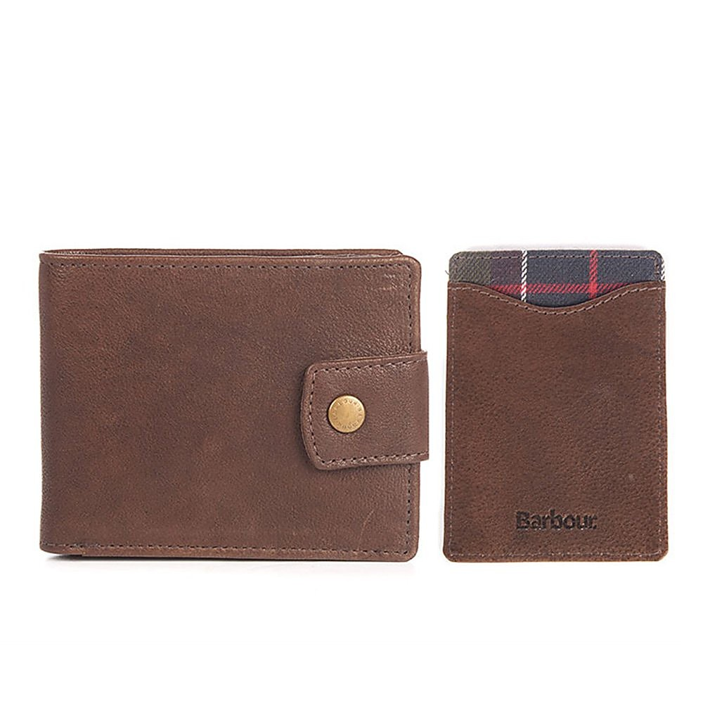 Barbour Leather Wallet and Card Holder - Dark Brown