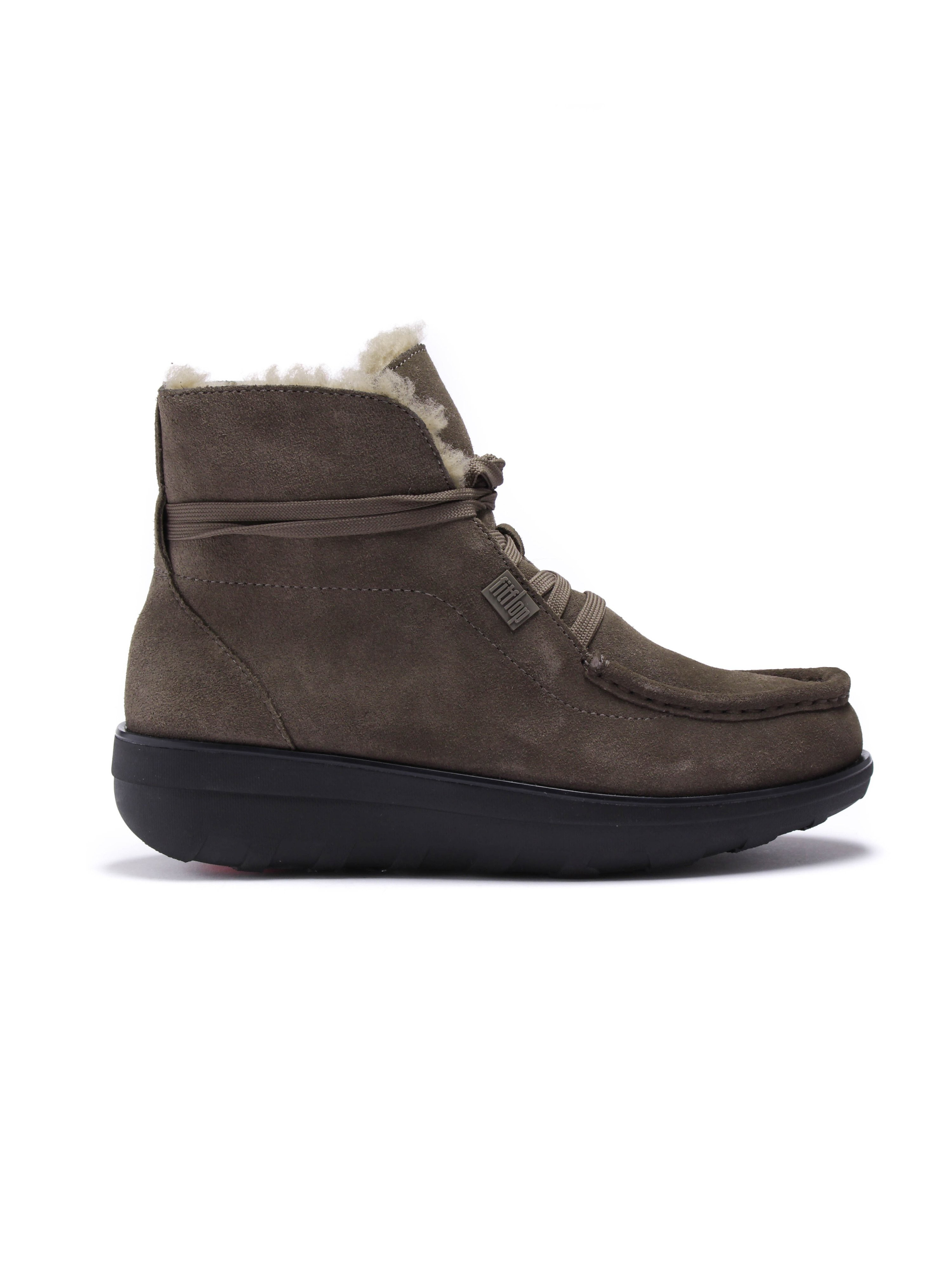 FitFlop Womens Slip-On Shearling Ankle Boots - Bungee Cord Suede
