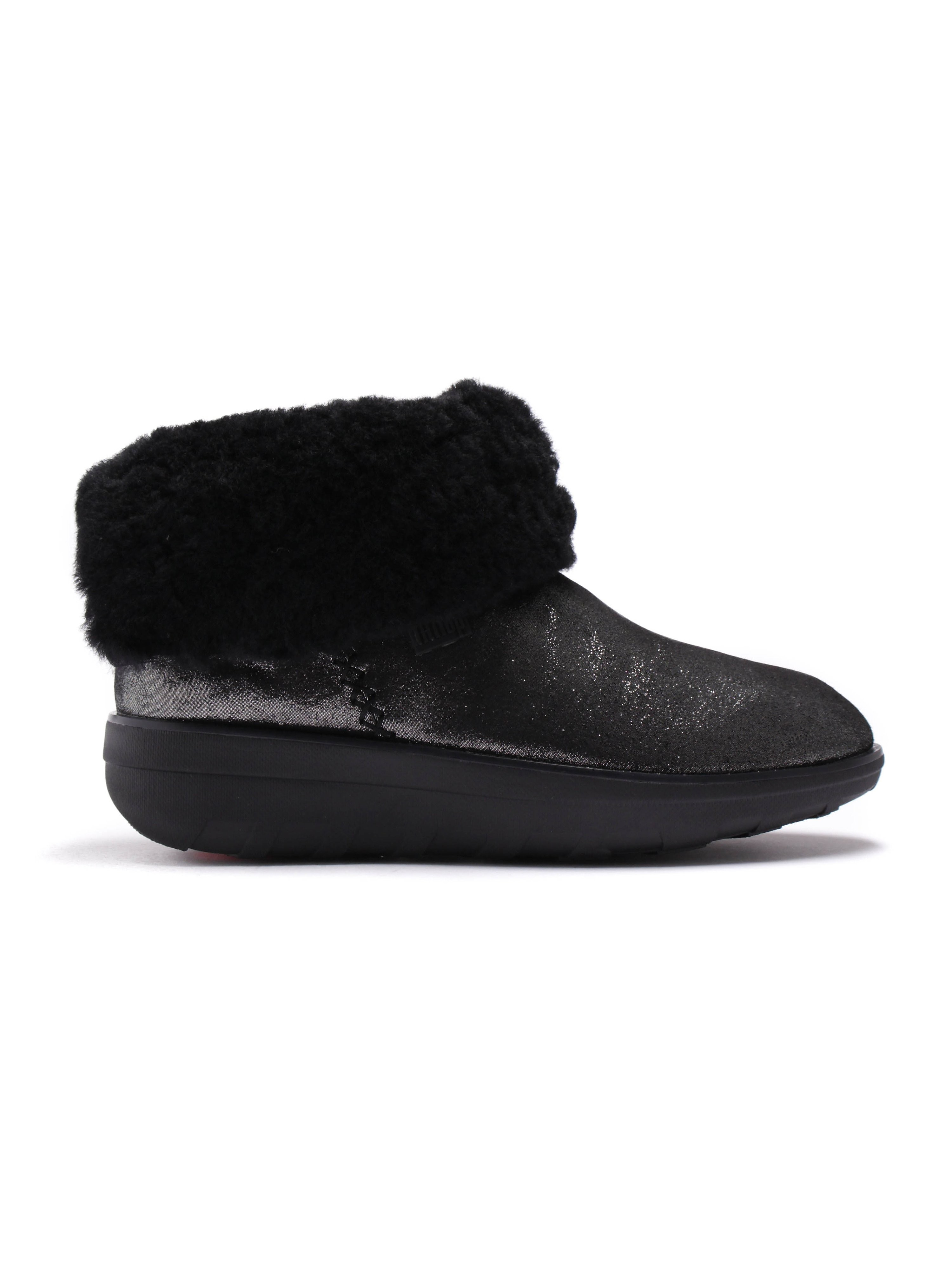 FitFlop Womens Supercush Mukloaff Shimmer Boot - Black