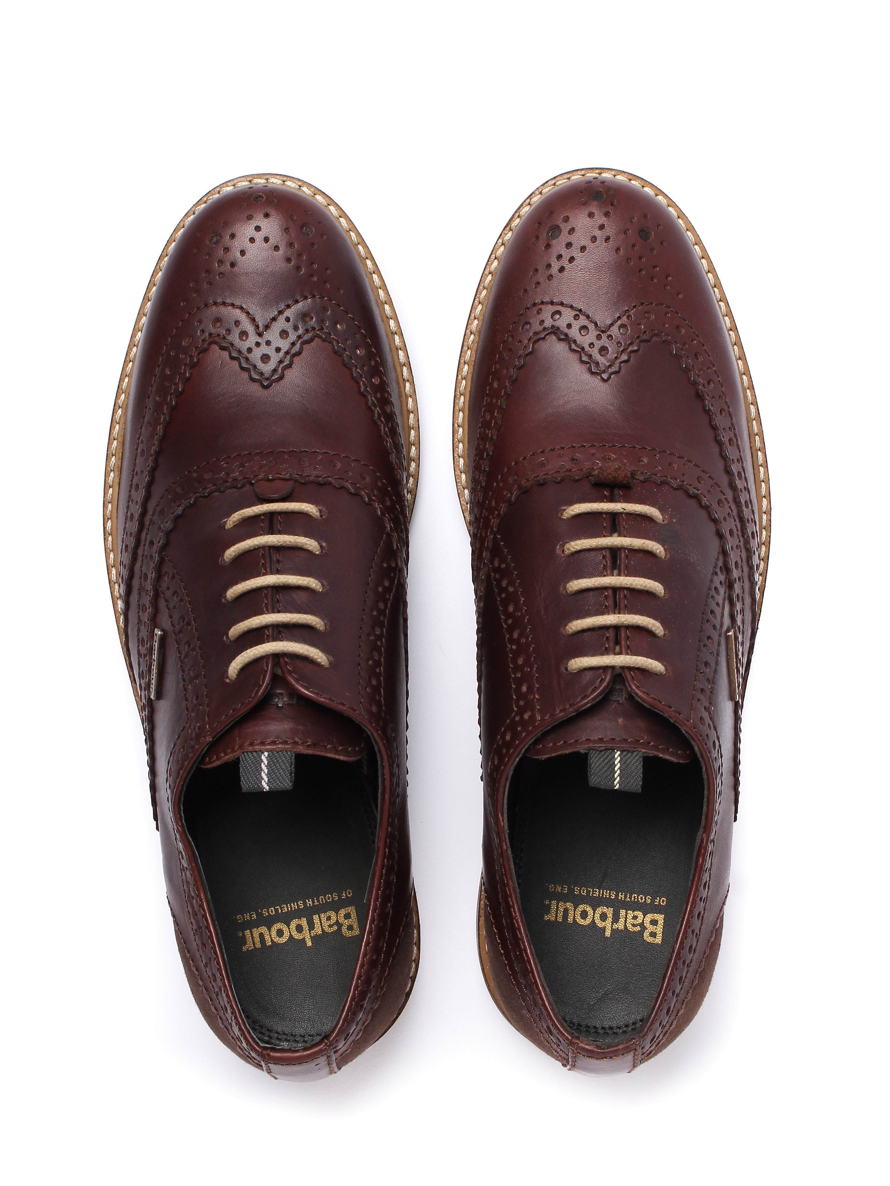 Barbour Men's Redcar Leather Oxford Brogues - Dark Brown