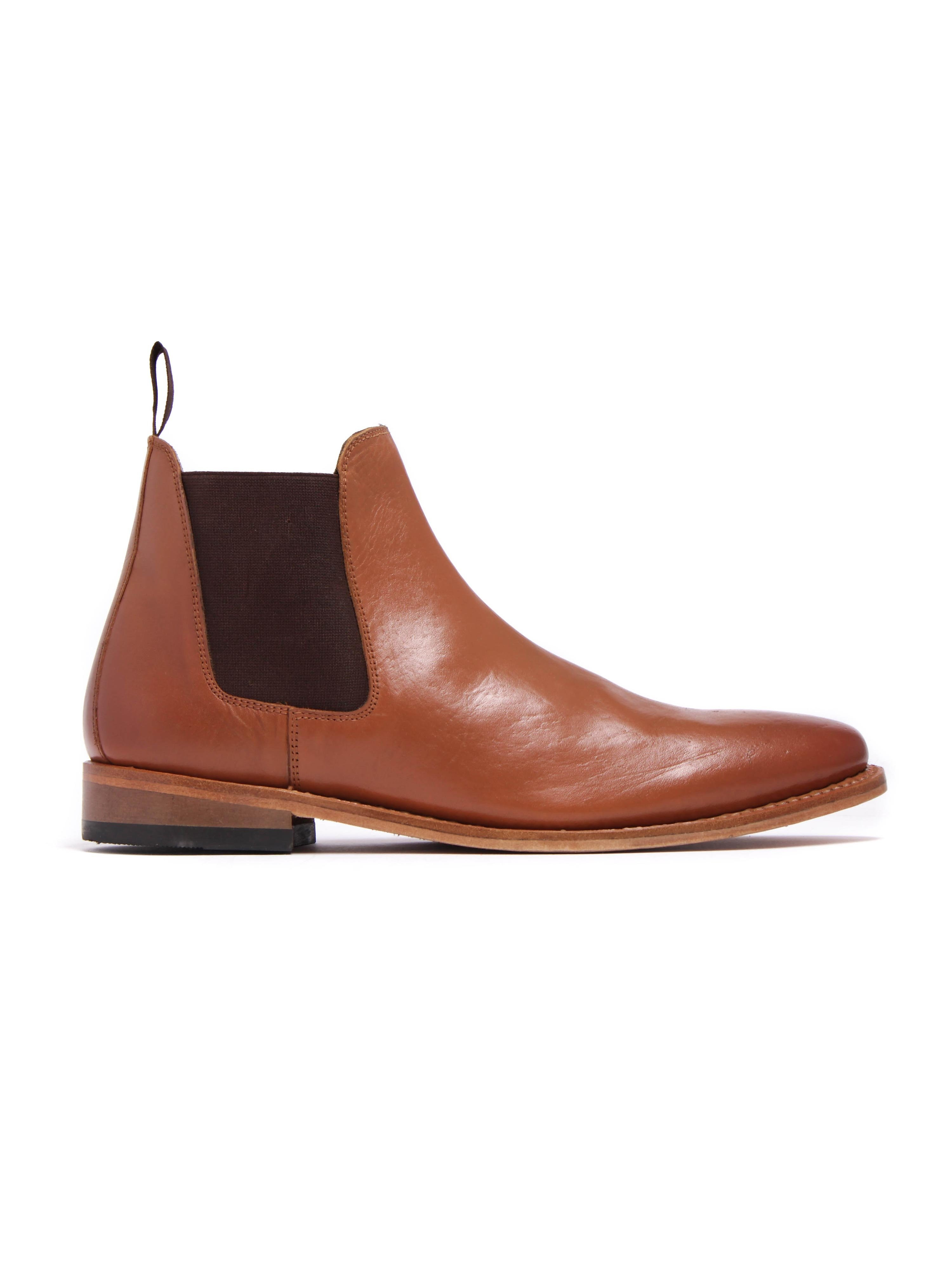Russell Thomas Mens Tan Leather Chelsea Boots