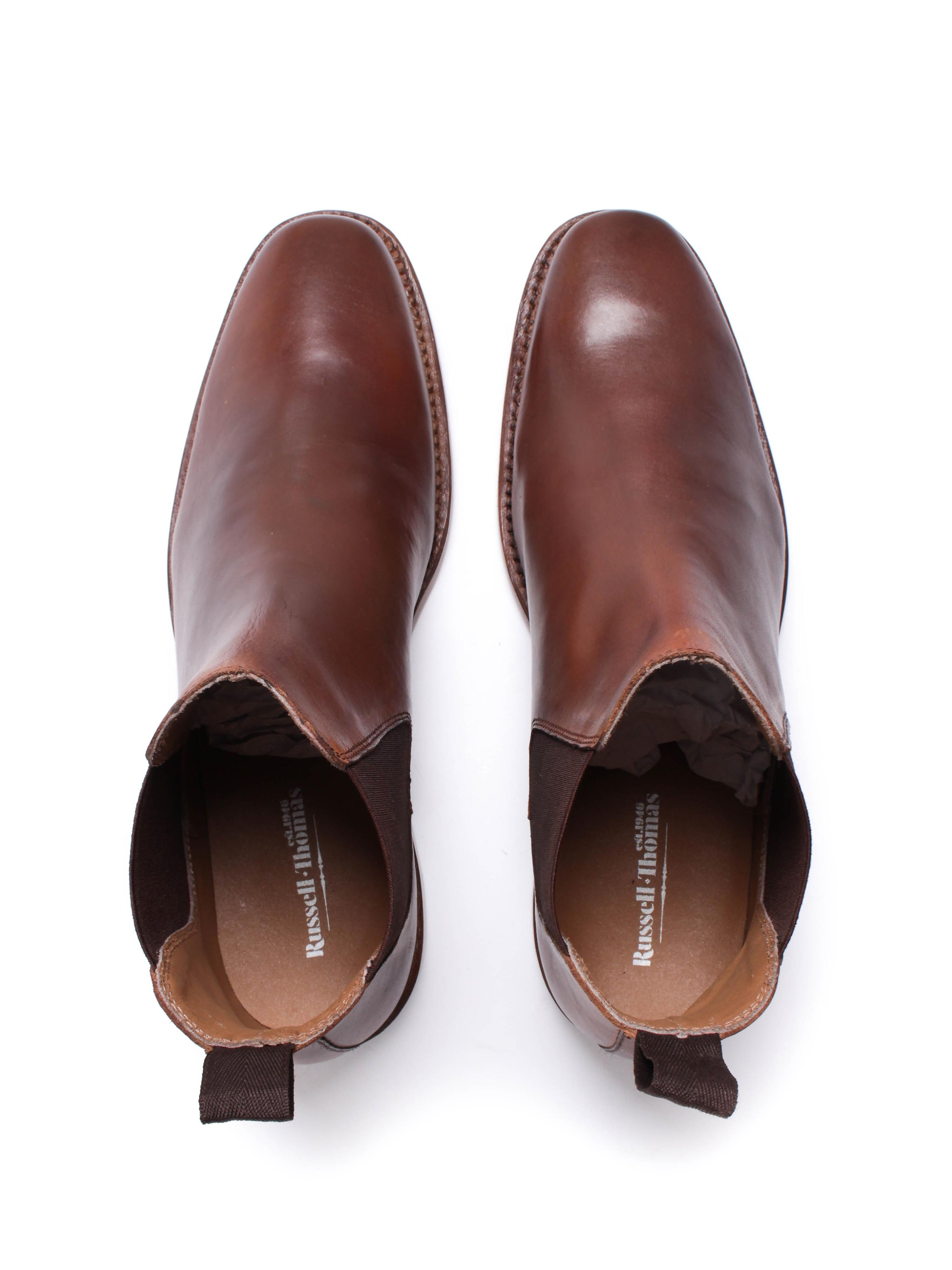 Russell Thomas Mens Antique Brown Leather Chelsea Boots