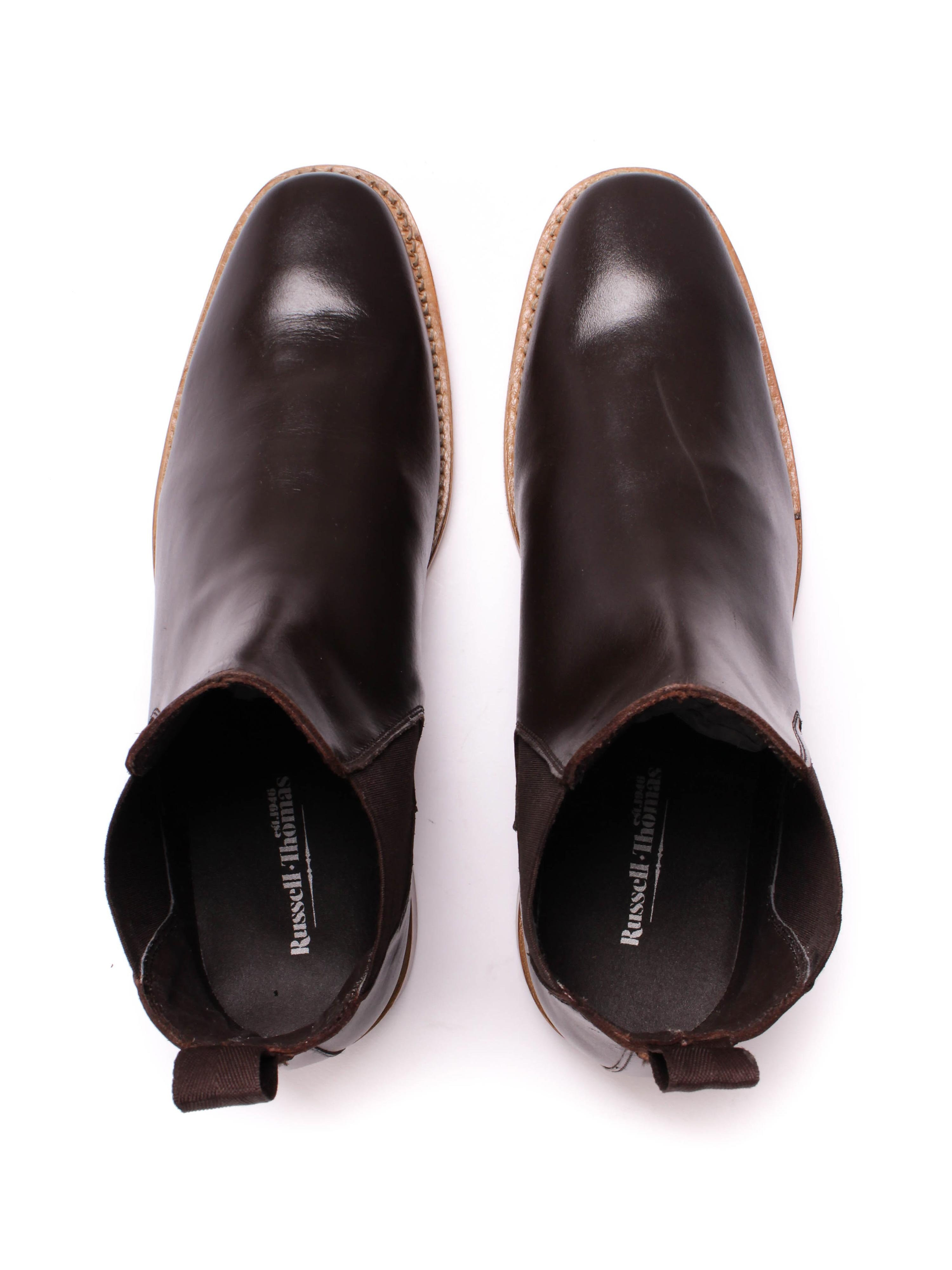 Russell Thomas Mens Dark Brown Leather Chelsea Boots