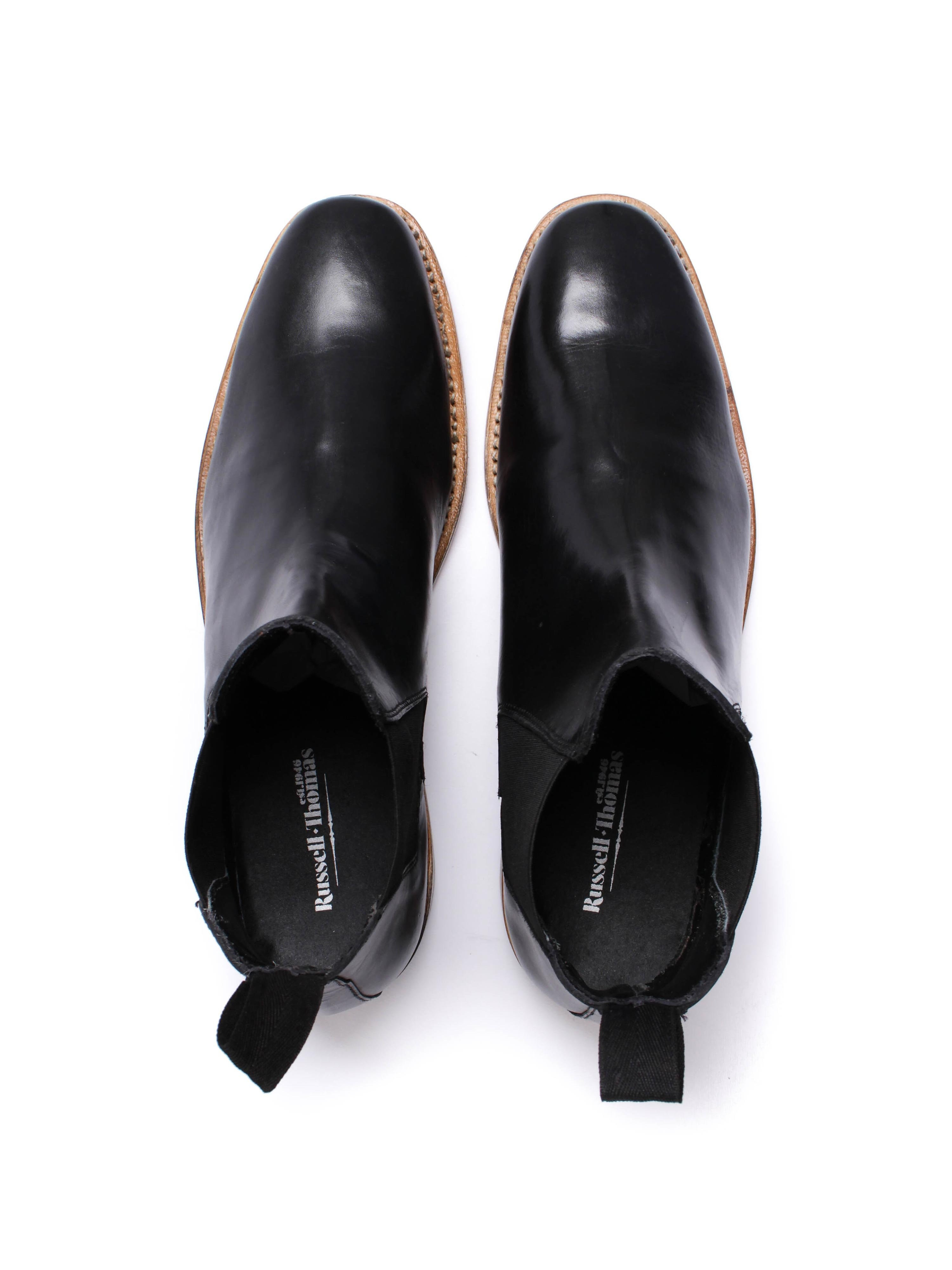 Russell Thomas Mens Black Leather Chelsea Boots