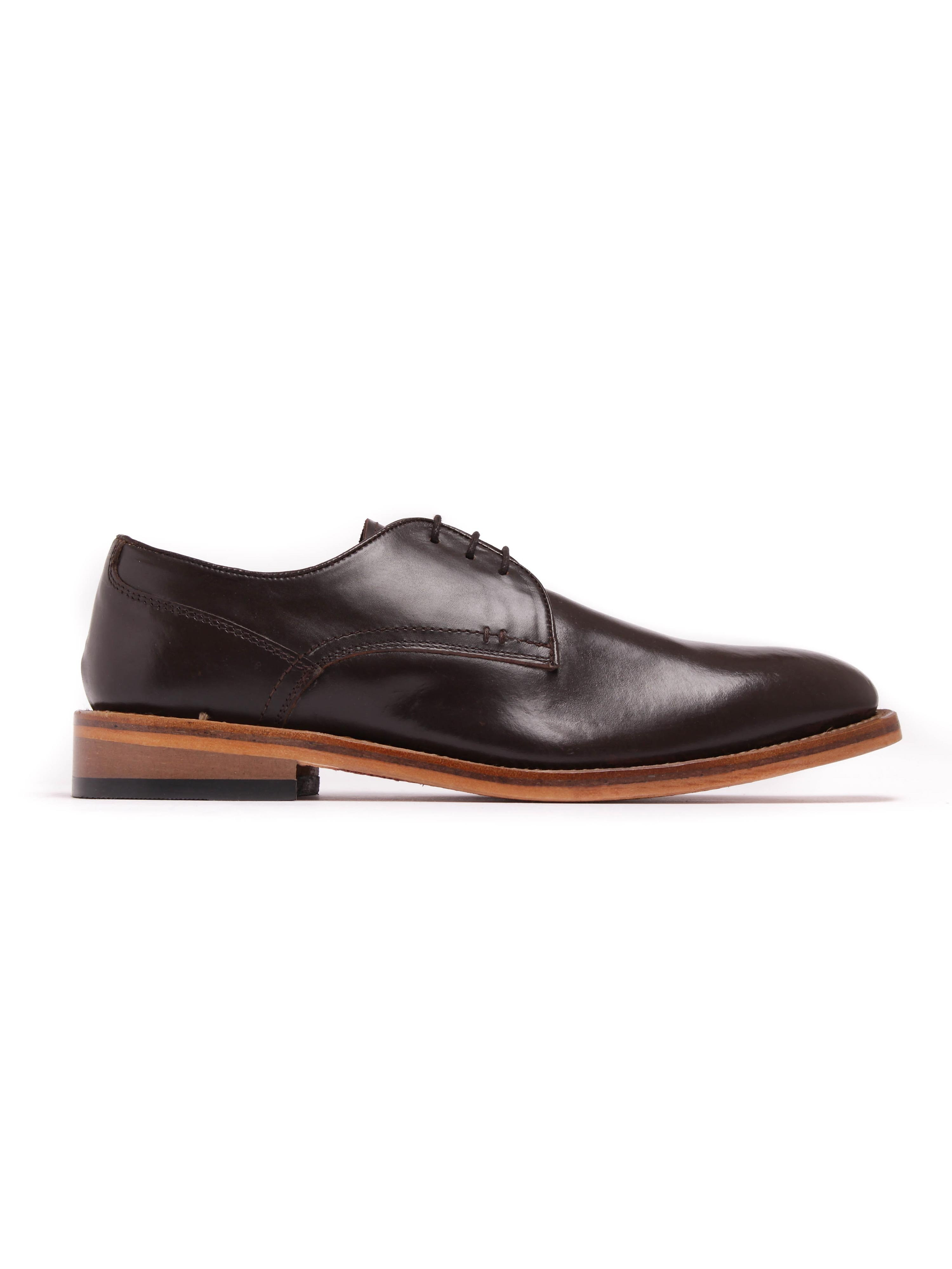 Russell Thomas Mens Surrey Plain Dark Brown Leather Derby Shoes