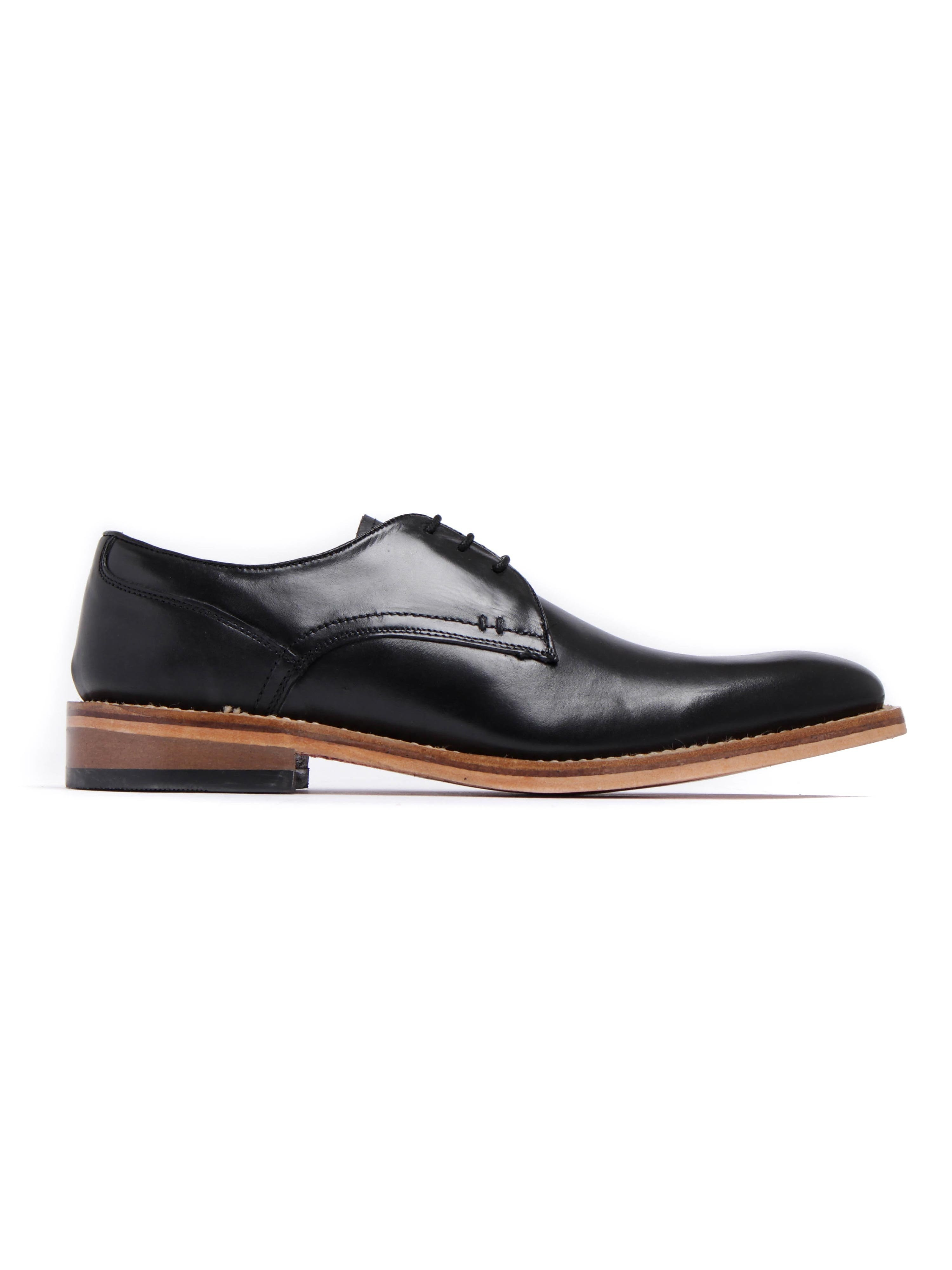 Russell Thomas Mens Surrey Plain Black Leather Derby Shoes