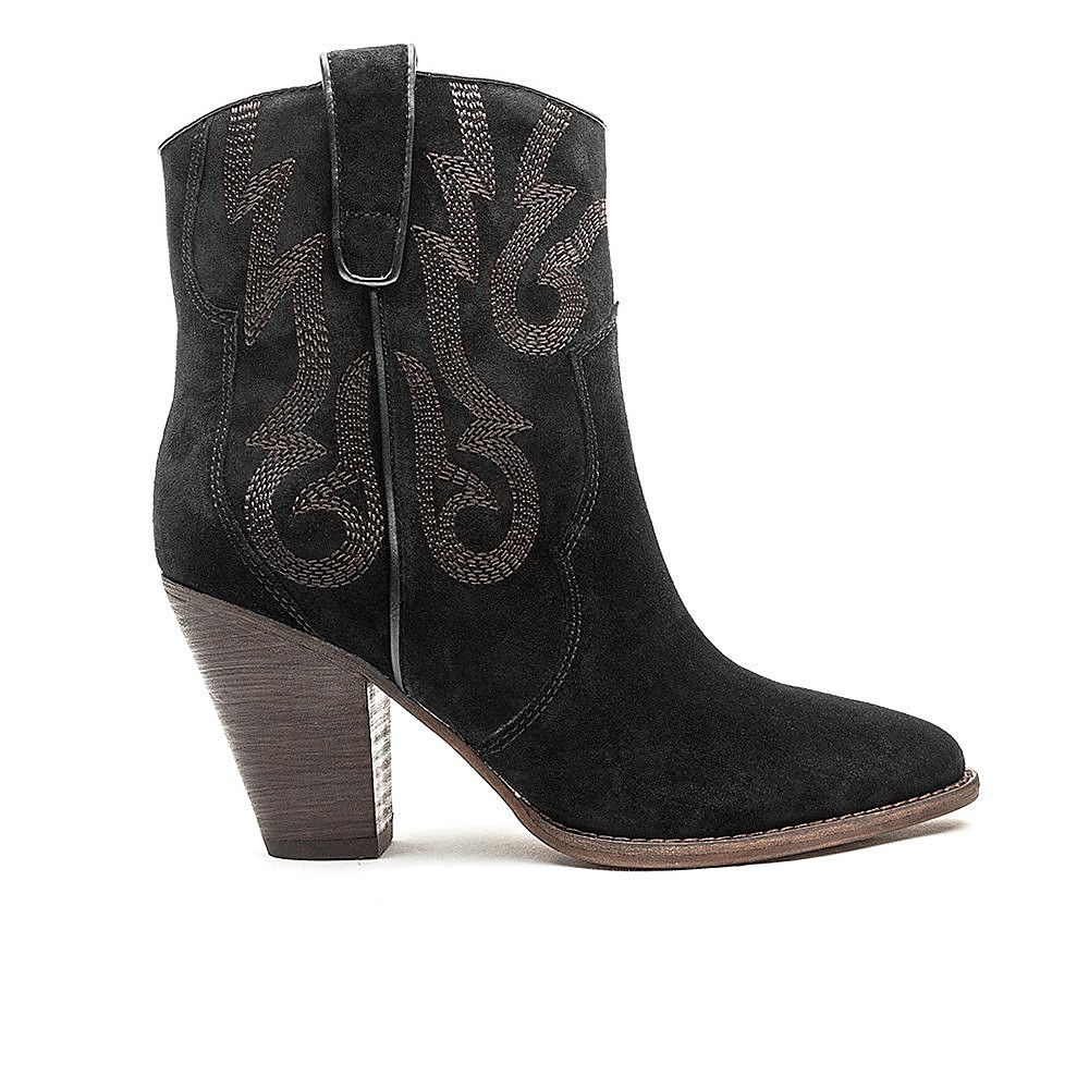 Ash Women's Joe Embroidered Heeled Ankle Boot - Black