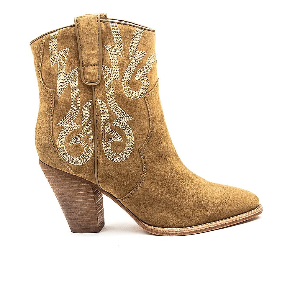 Ash Women's Joe Suede Embroidered Heeled Ankle Boot - Tan