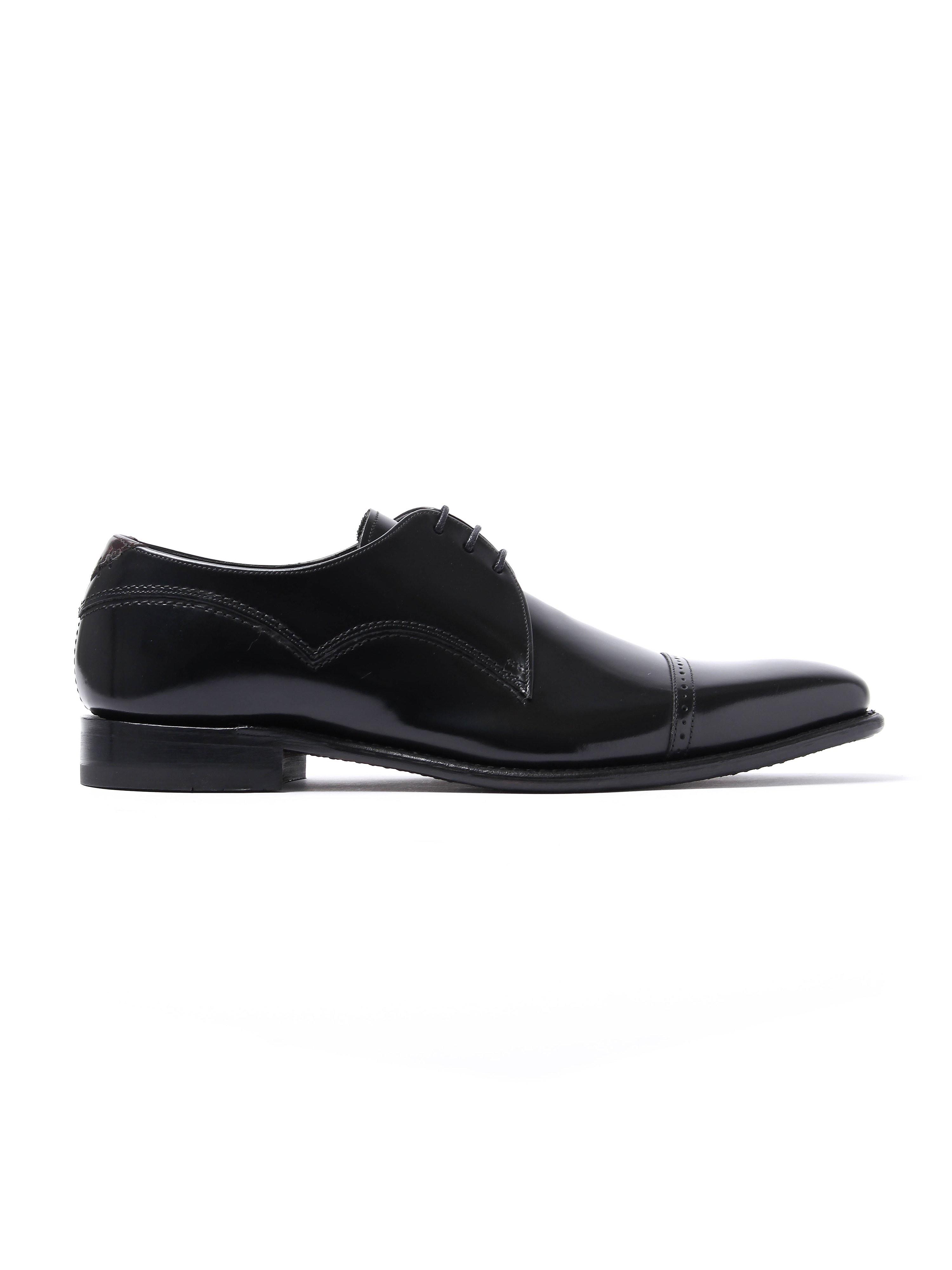 Barker Men's Carlson Patent Leather Cap-Toe Derby Shoes - Black