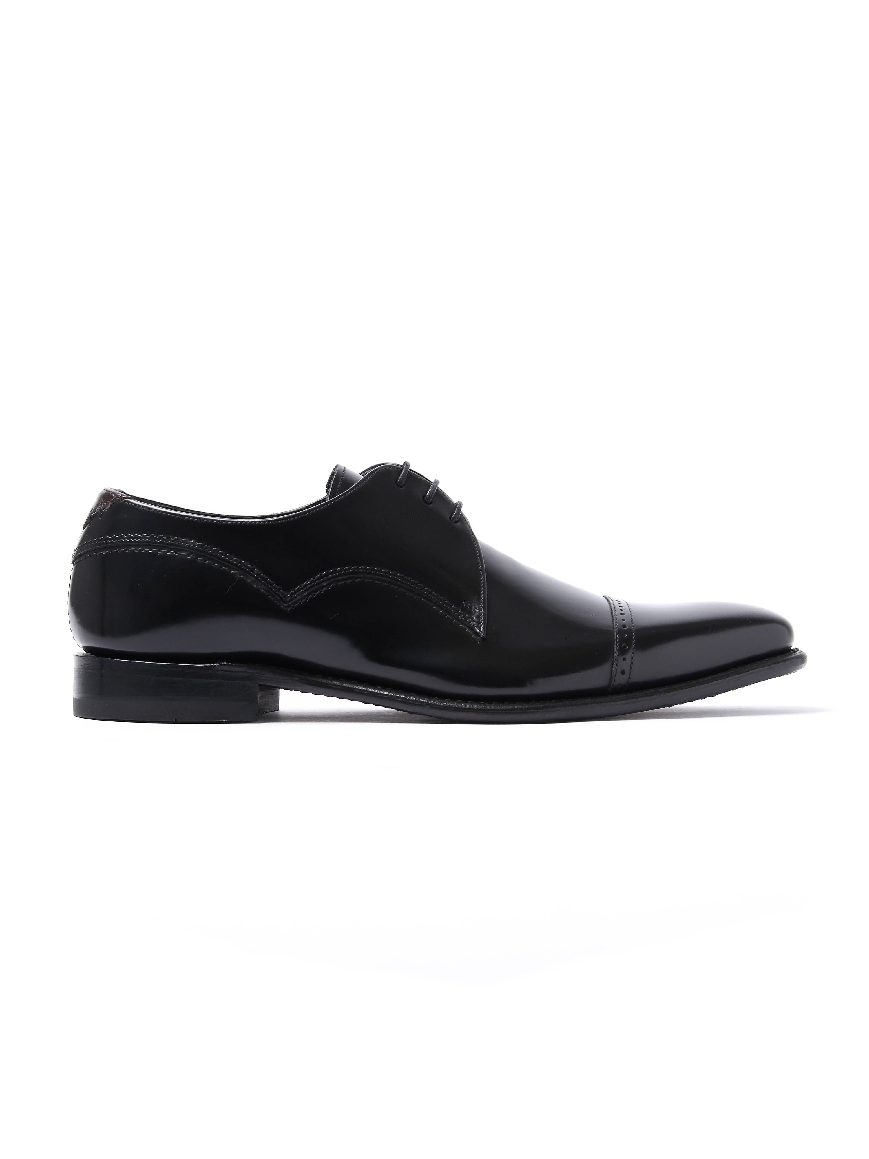 Barker Men's Carlson Patent Leather Cap-Toe Derby Shoes - Black