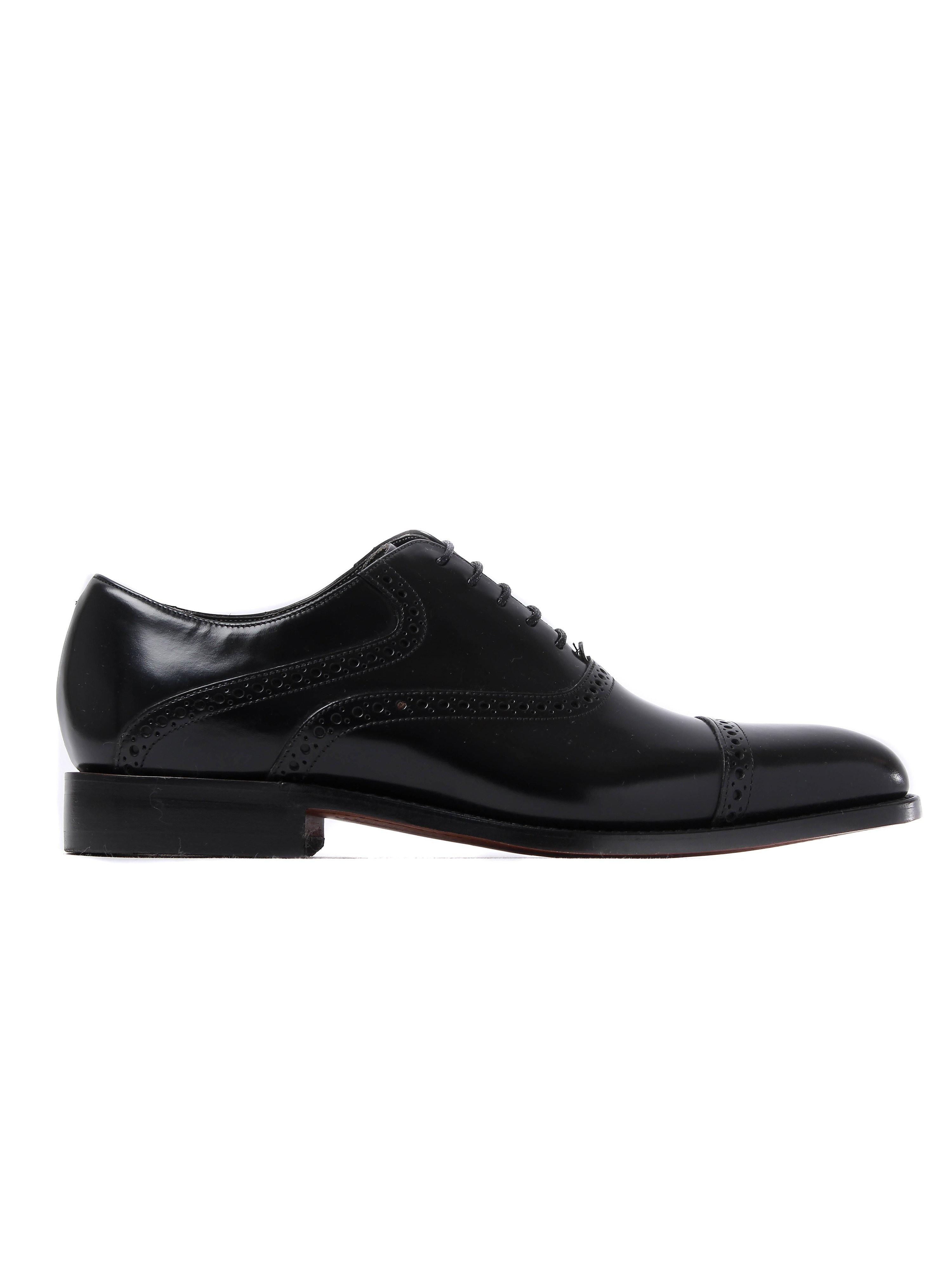Barker Men's Wilton Patent Leather Cap-Toe Derby Shoes - Black