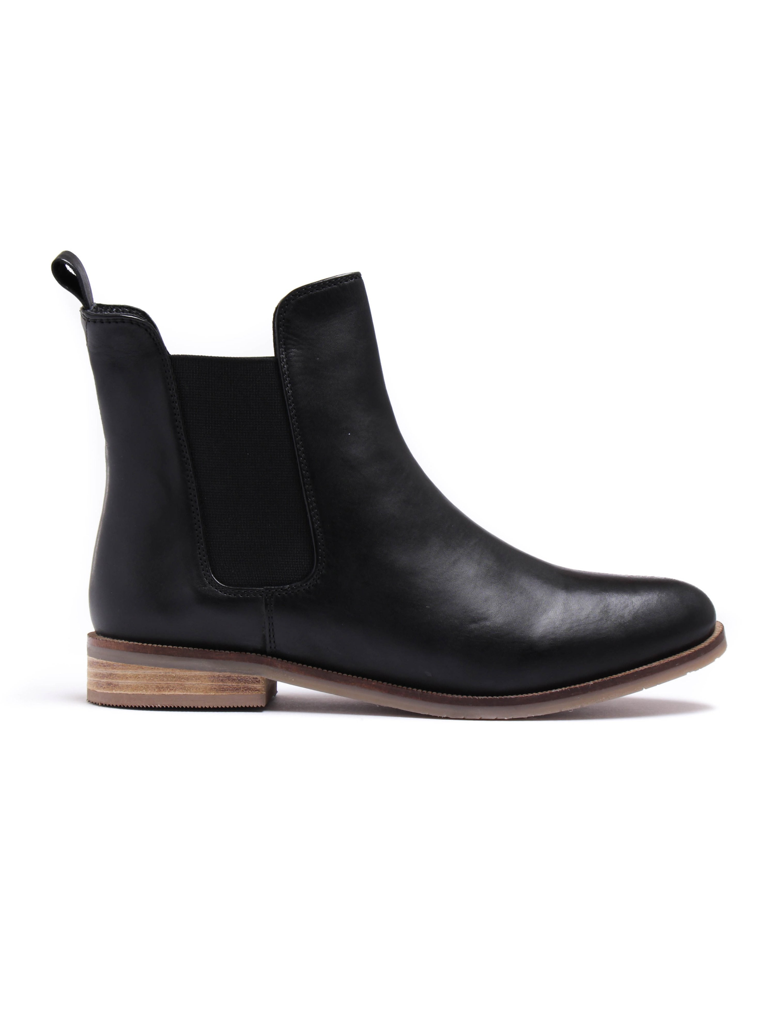 Imogen Womens Black Leather Chelsea Boots