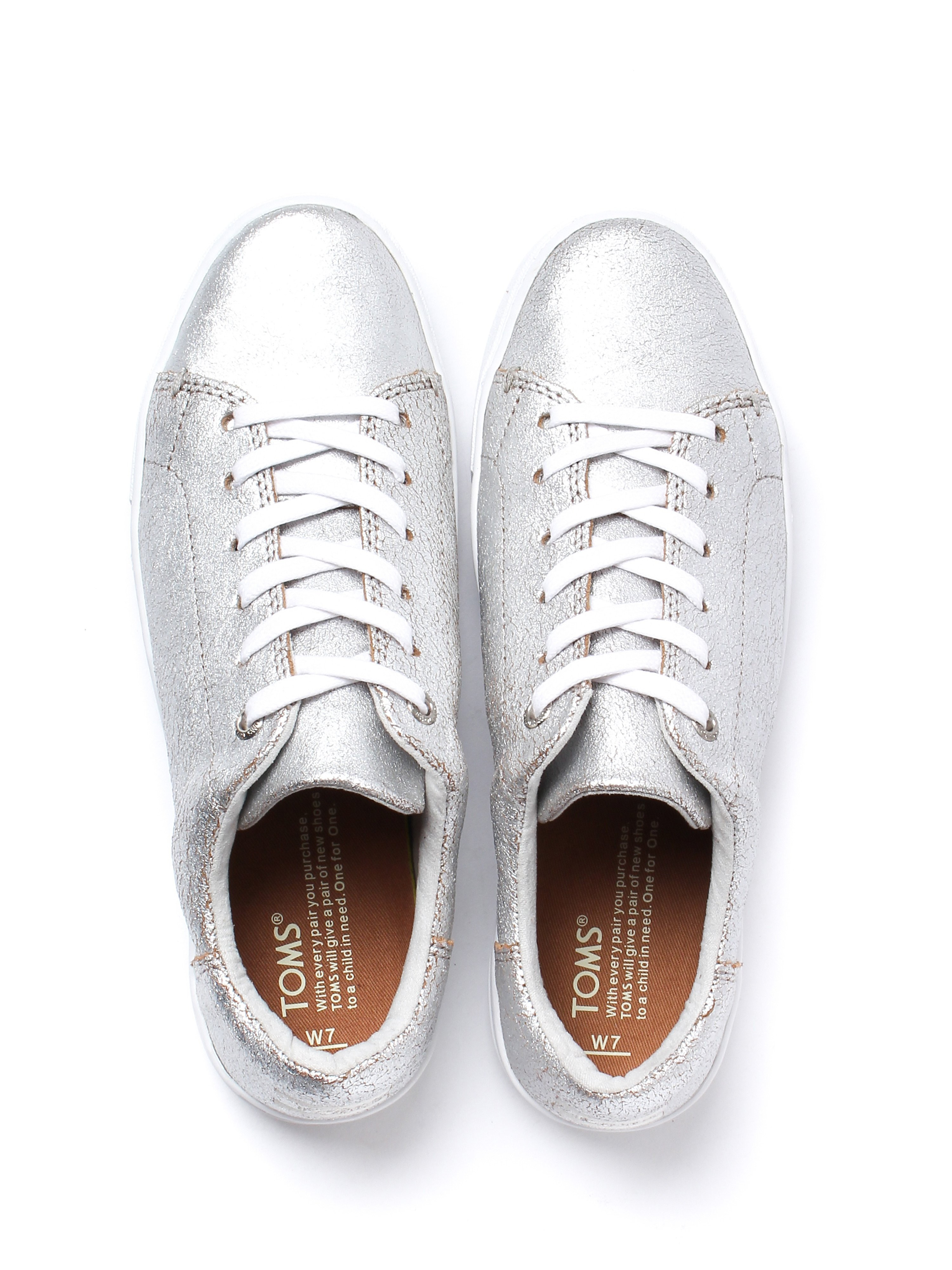 Toms Women's Lenox Metallic Trainers - Silver Leather