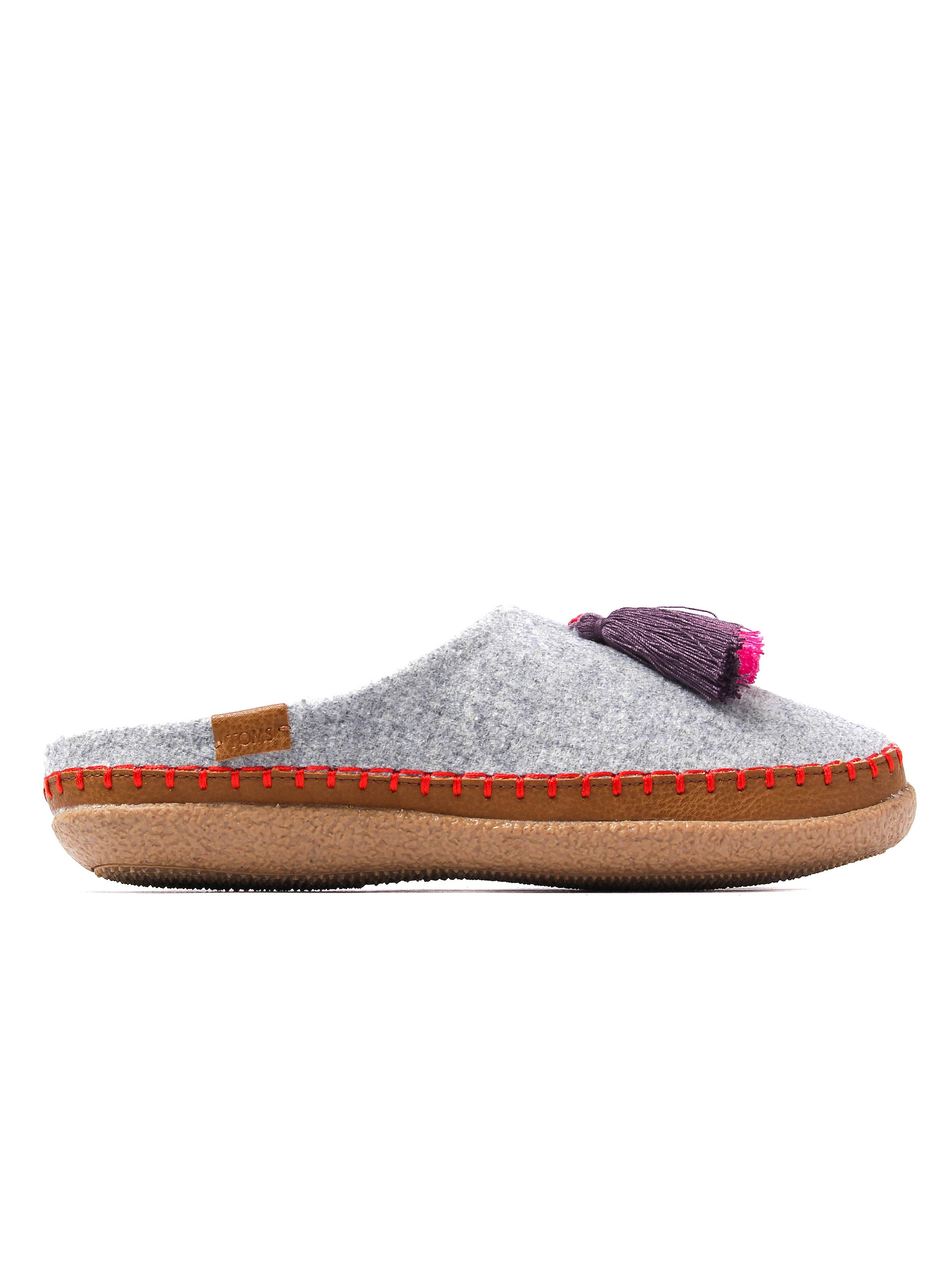 Toms Women's Ivy Wool Moccasin Slippers - Drizzle Grey Tassels