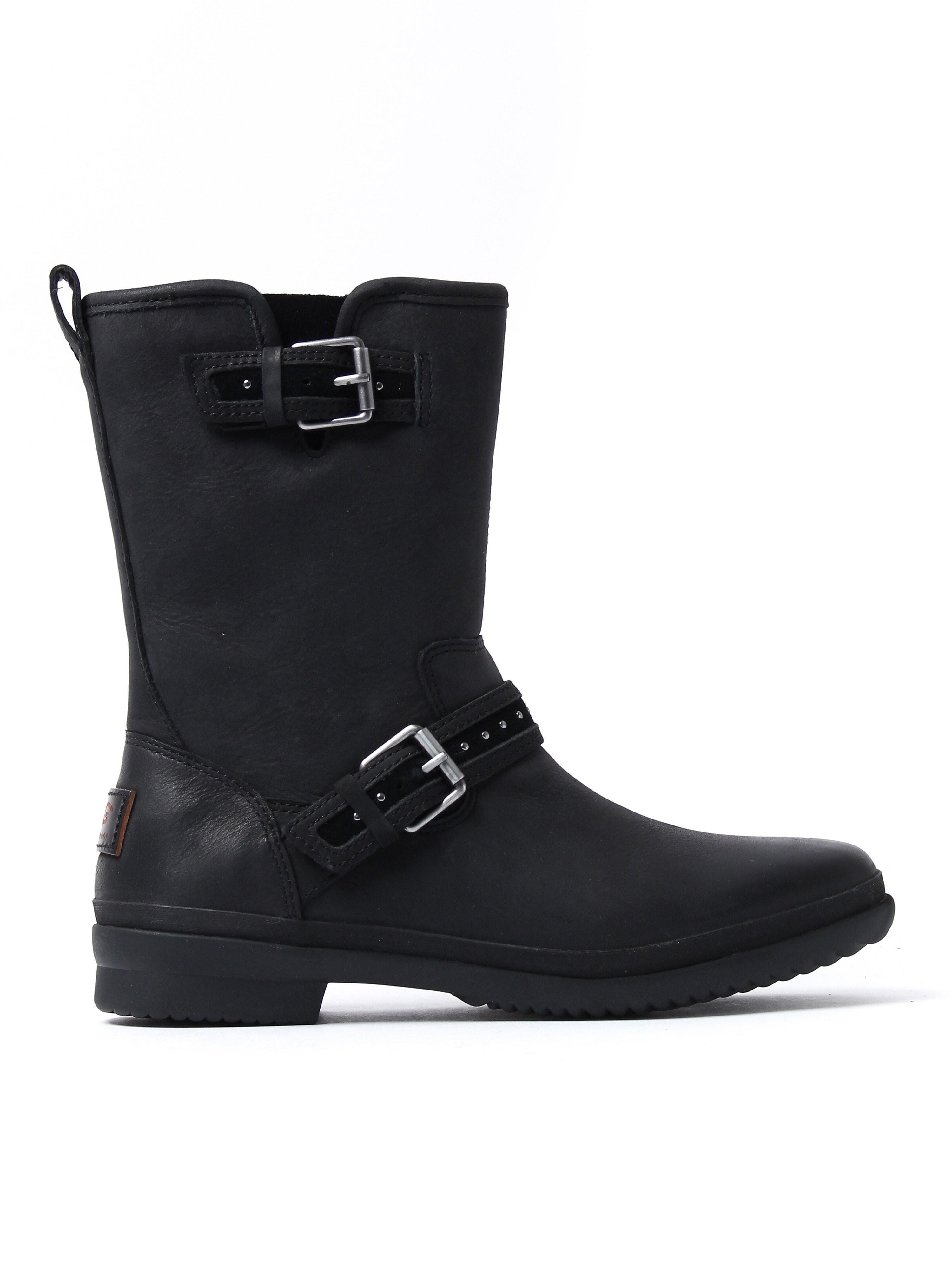 UGG Women's Jenise Biker Boots - Black Leather