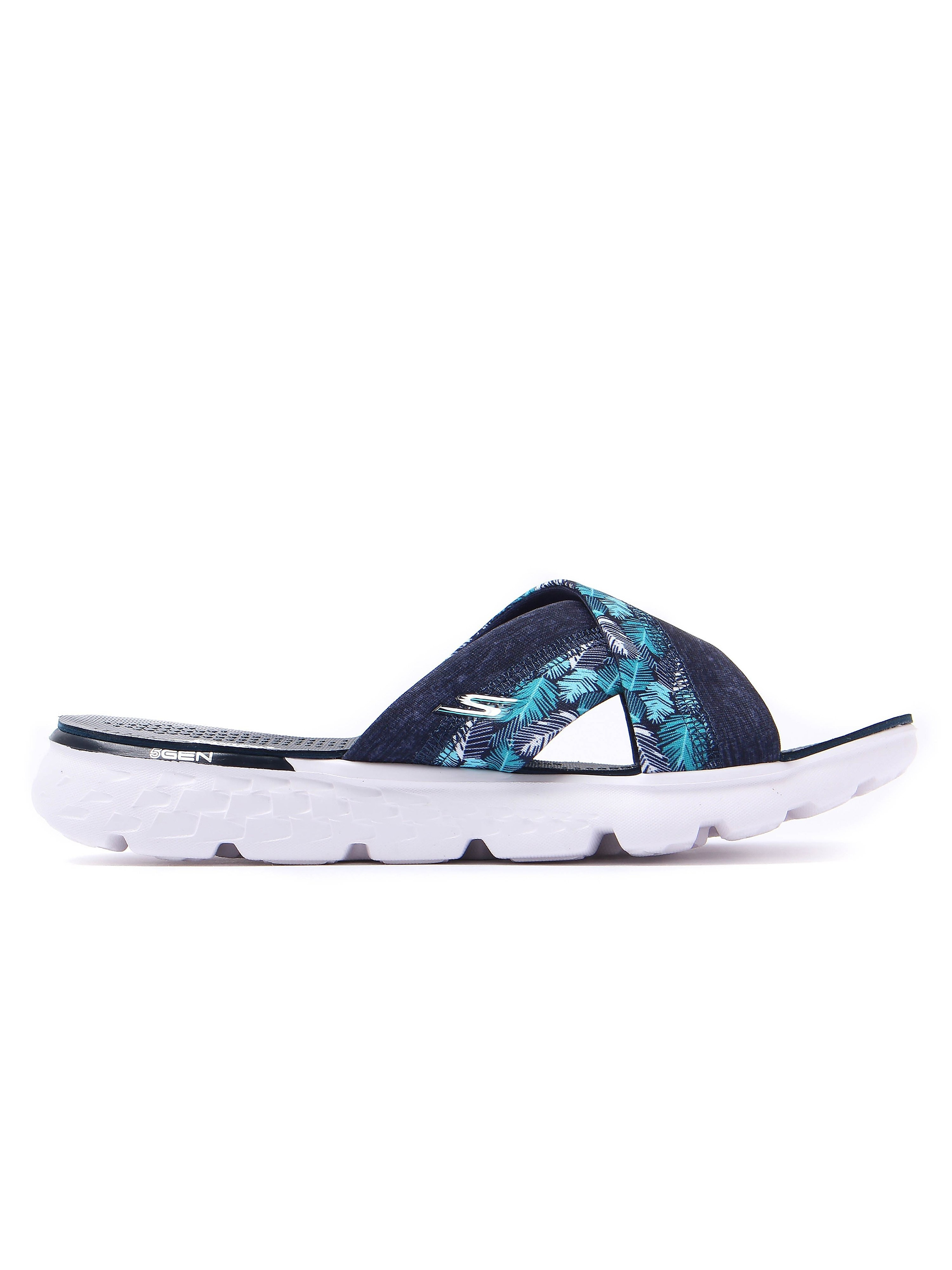 Skechers Women's On-The-Go 400 Tropical Print Slip-On Sandals - Navy