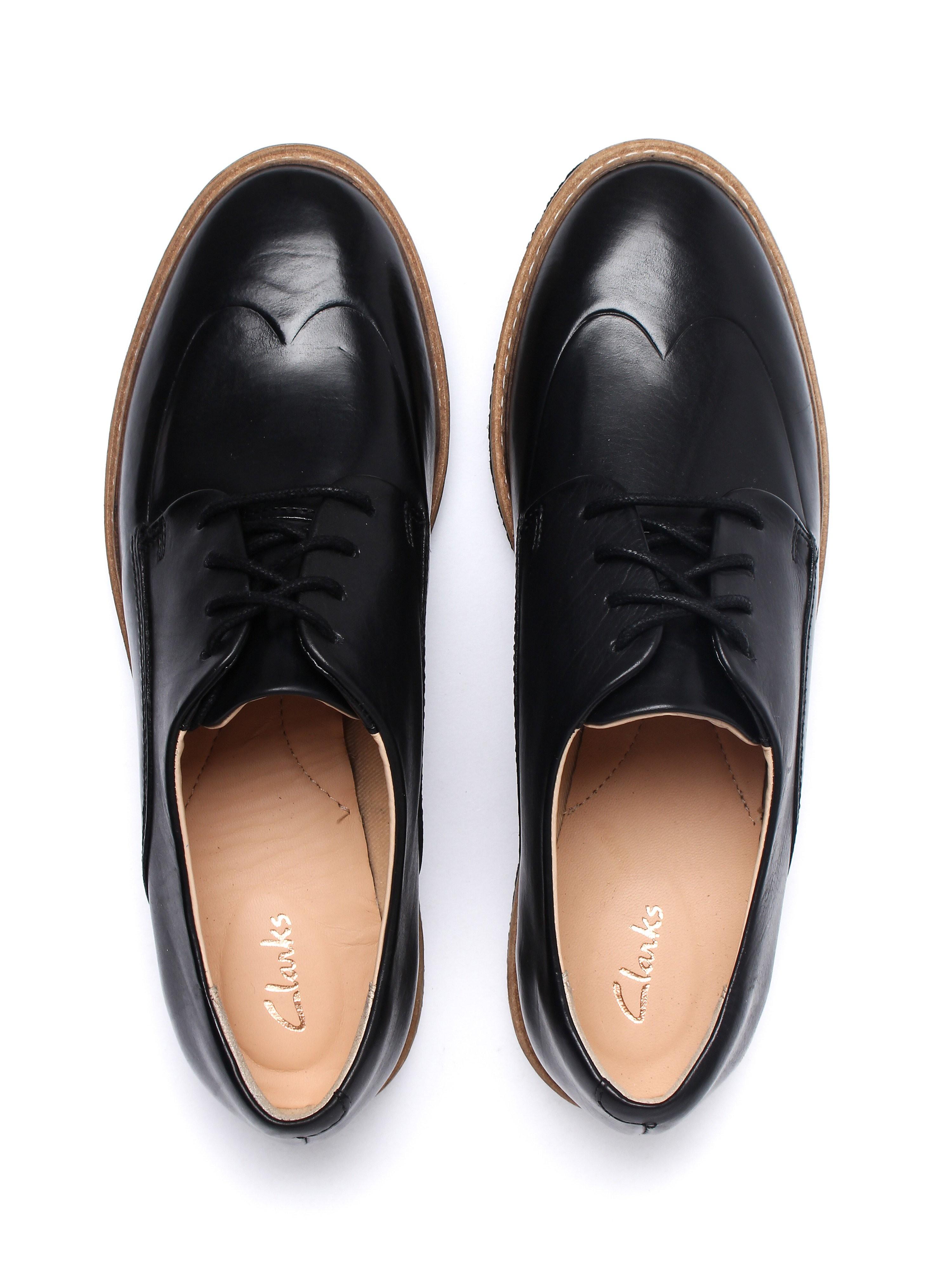 Clarks Women's Zante Zara  Brogues - Black Leather
