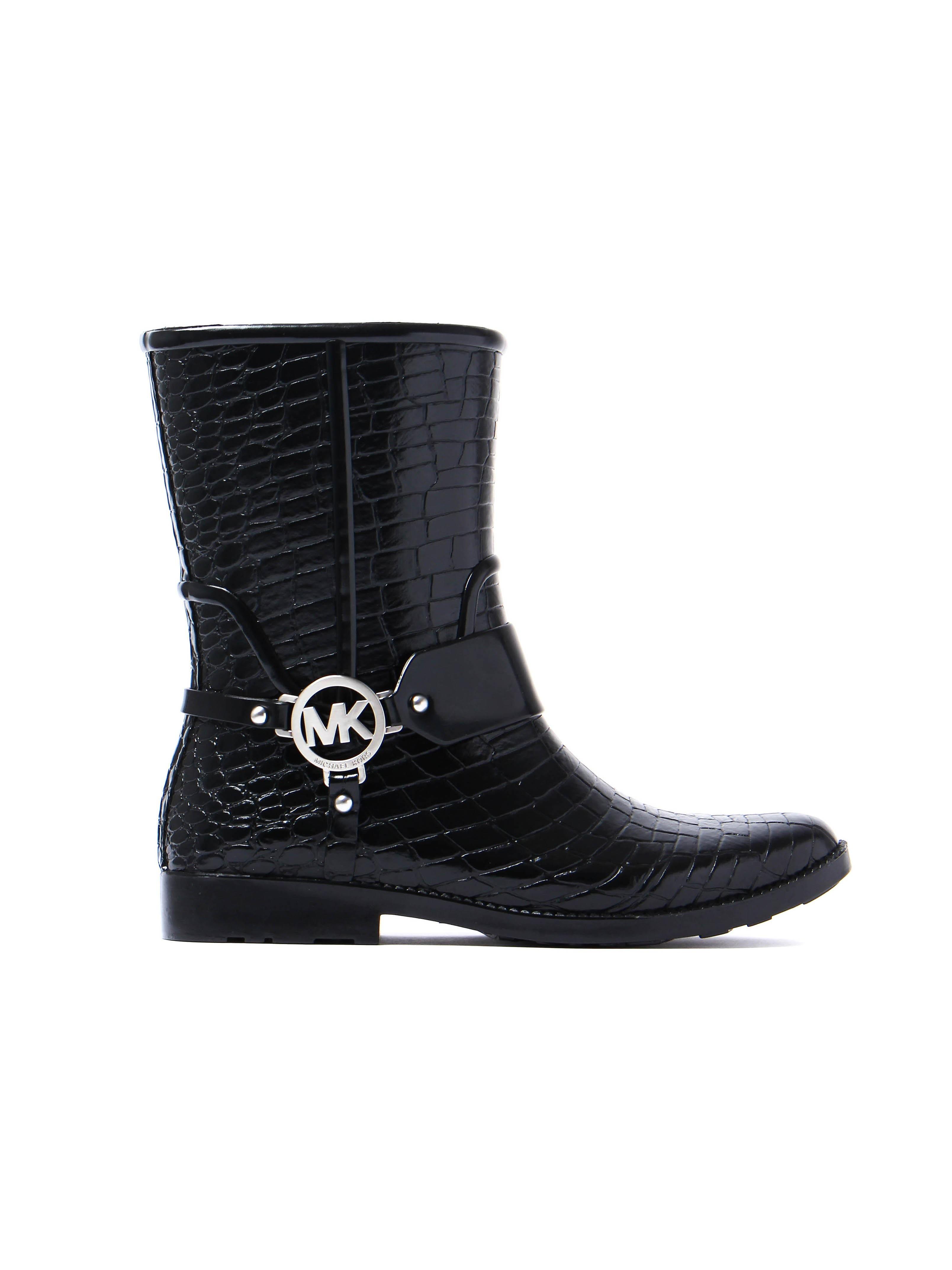 MICHAEL Michael Kors Women's Croco Rain Bootie - Black