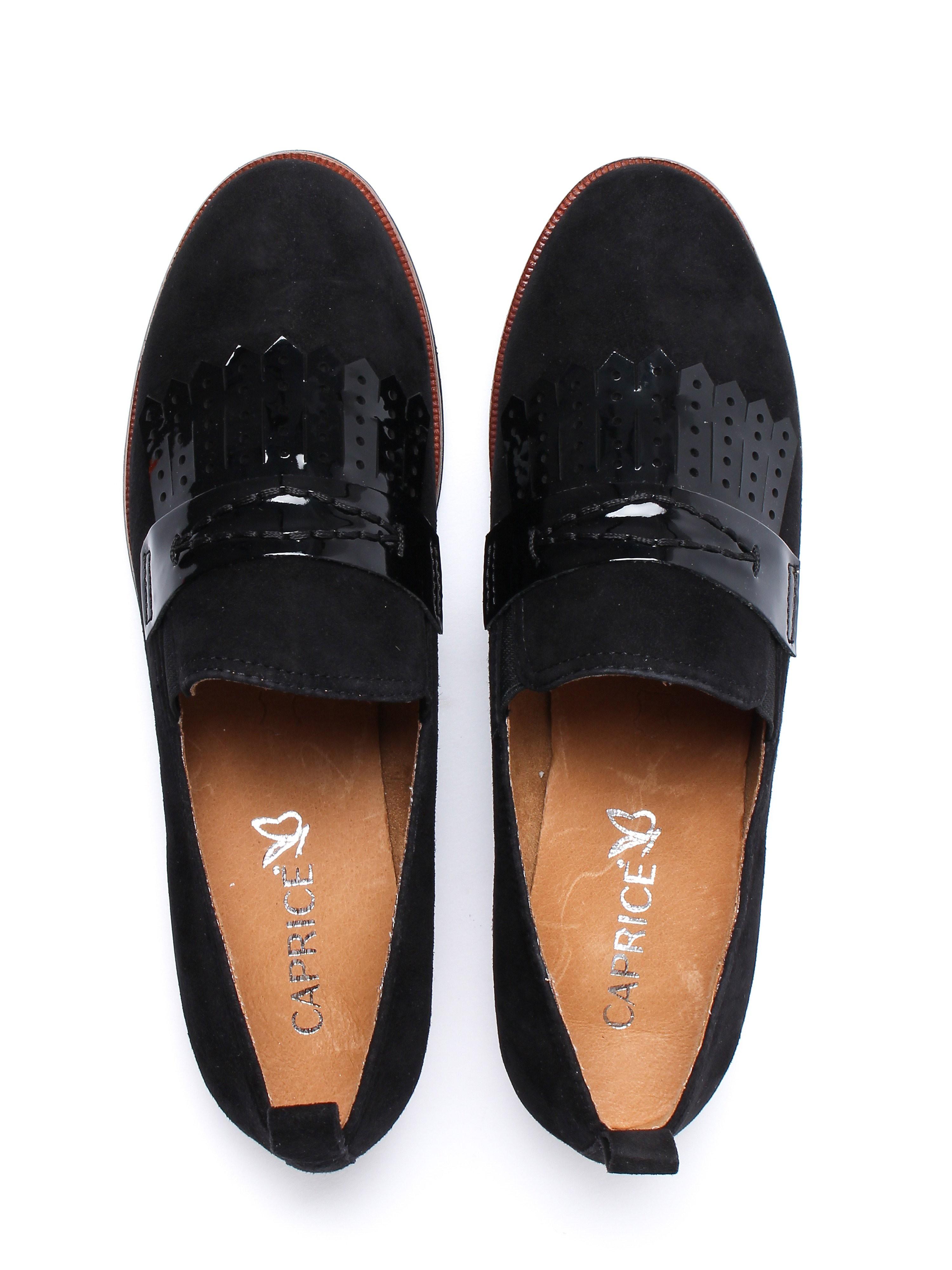 Caprice Women's Fringe Loafers - Black Suede