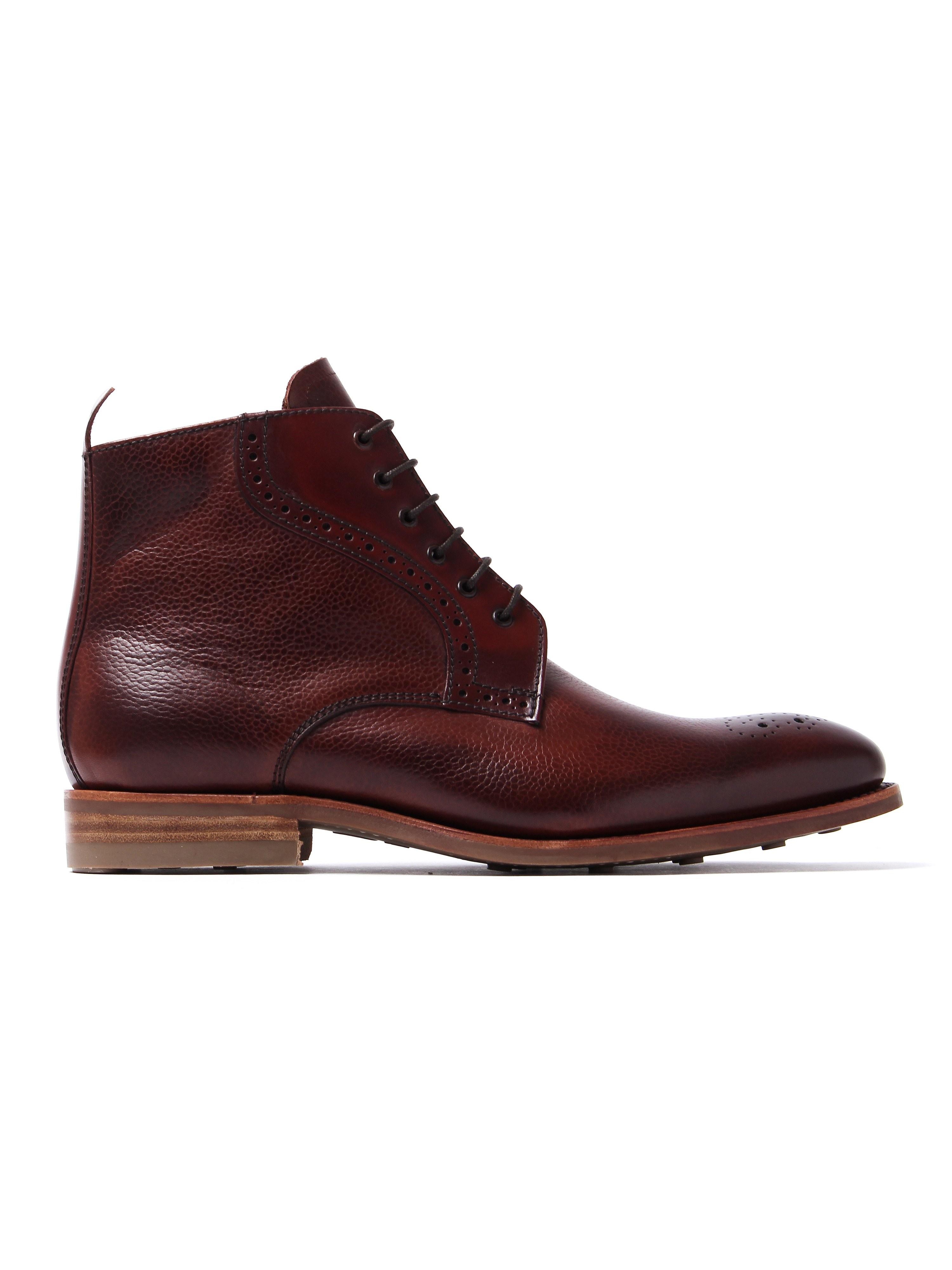 Barker Men's Jude Cedar Grain Boots - Rosewood Leather