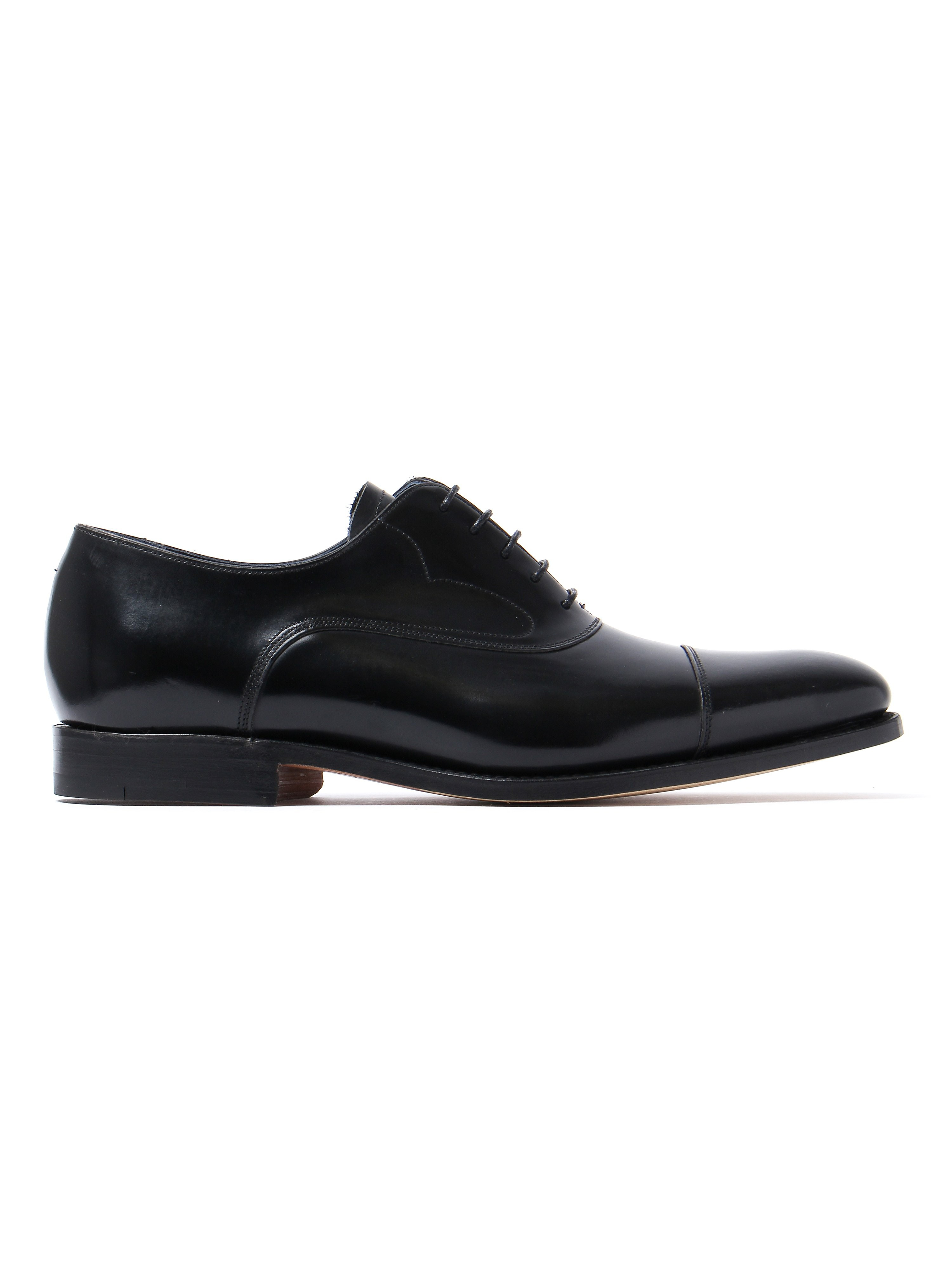 Barker Men's Hartley Hi Shine Derby Shoes – Black Leather