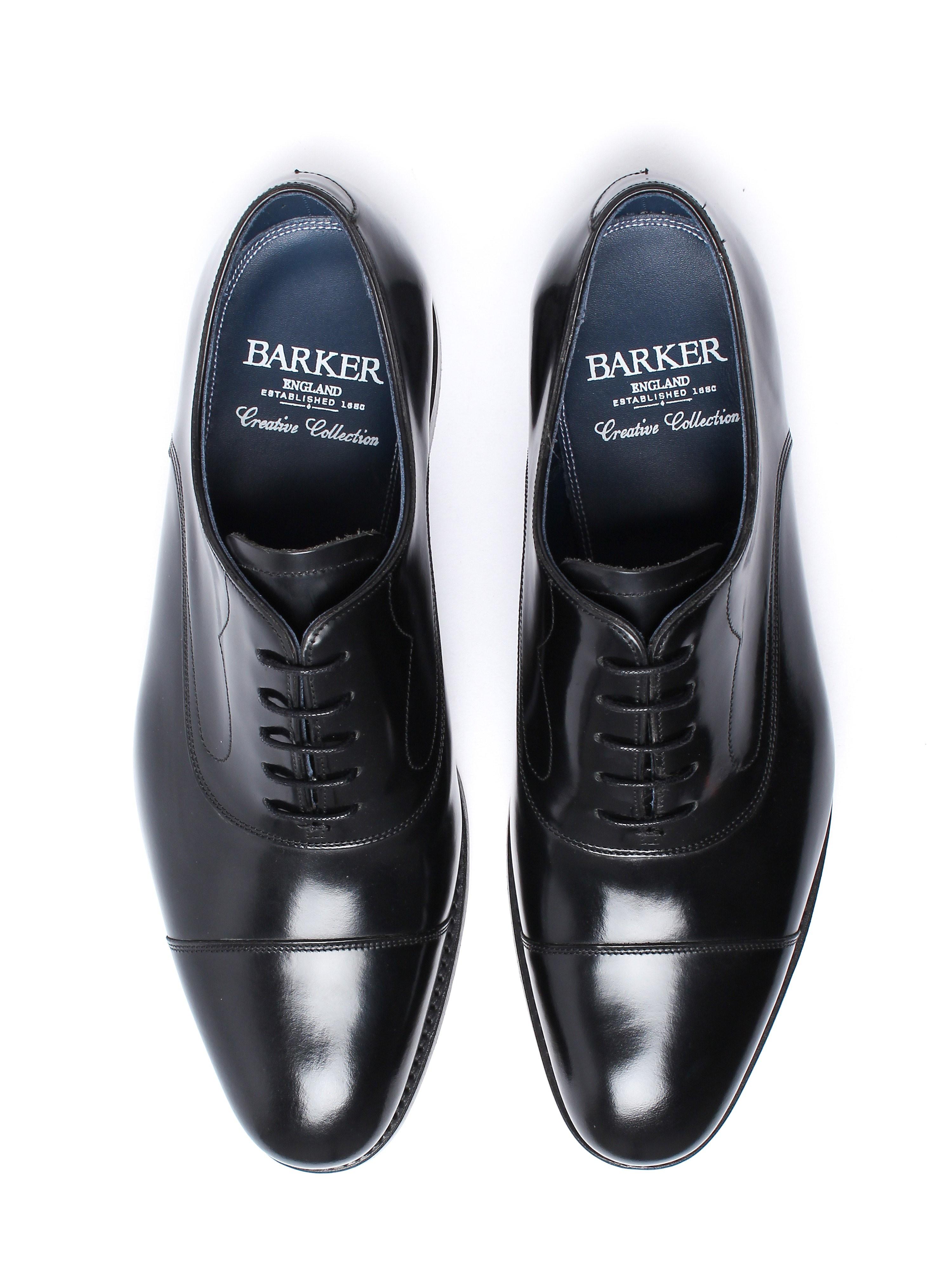 Barker Men's Hartley Hi Shine Derby Shoes – Black Leather