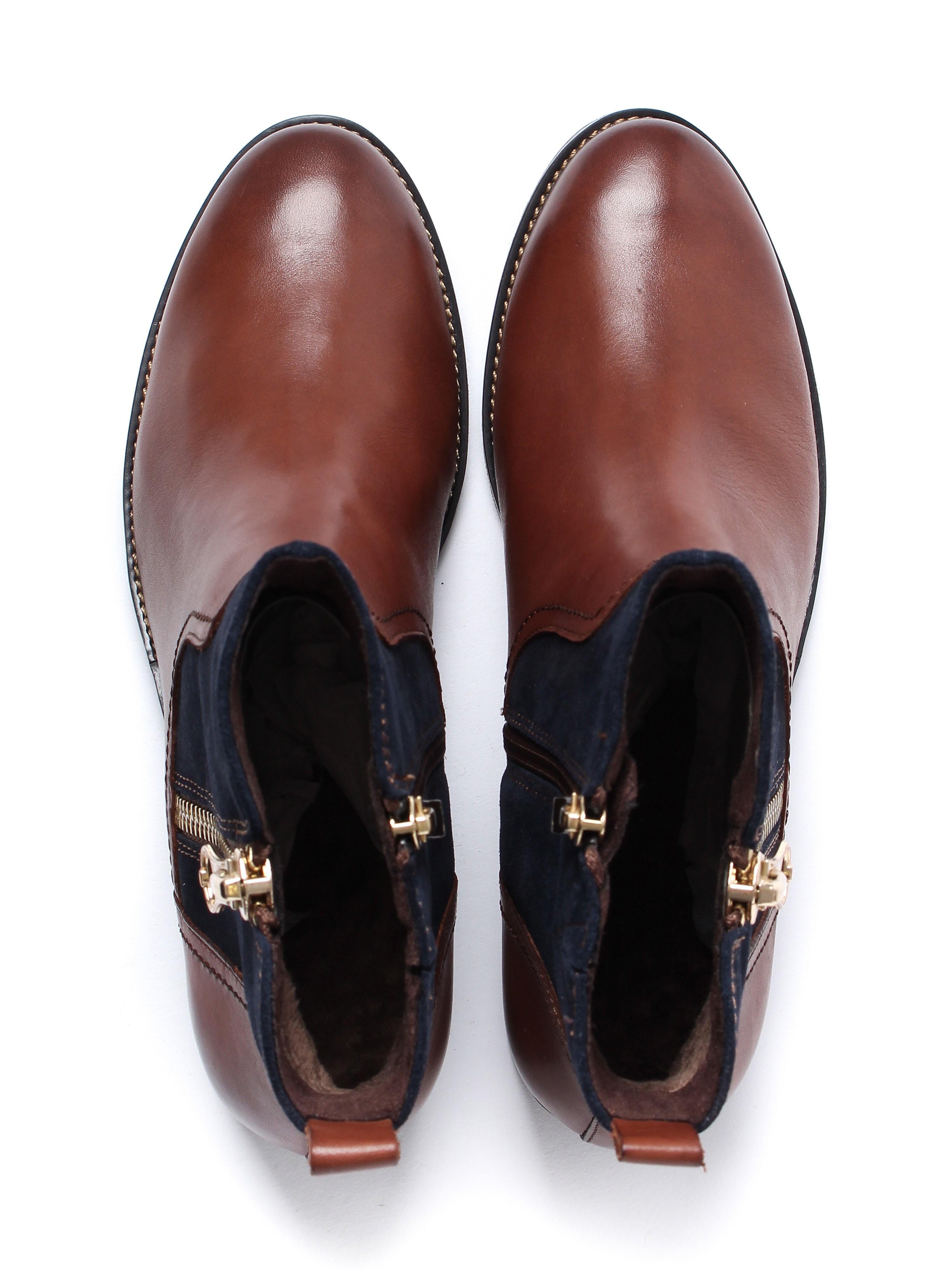 Caprice Women's Zip Ankle Boots - Cognac Leather