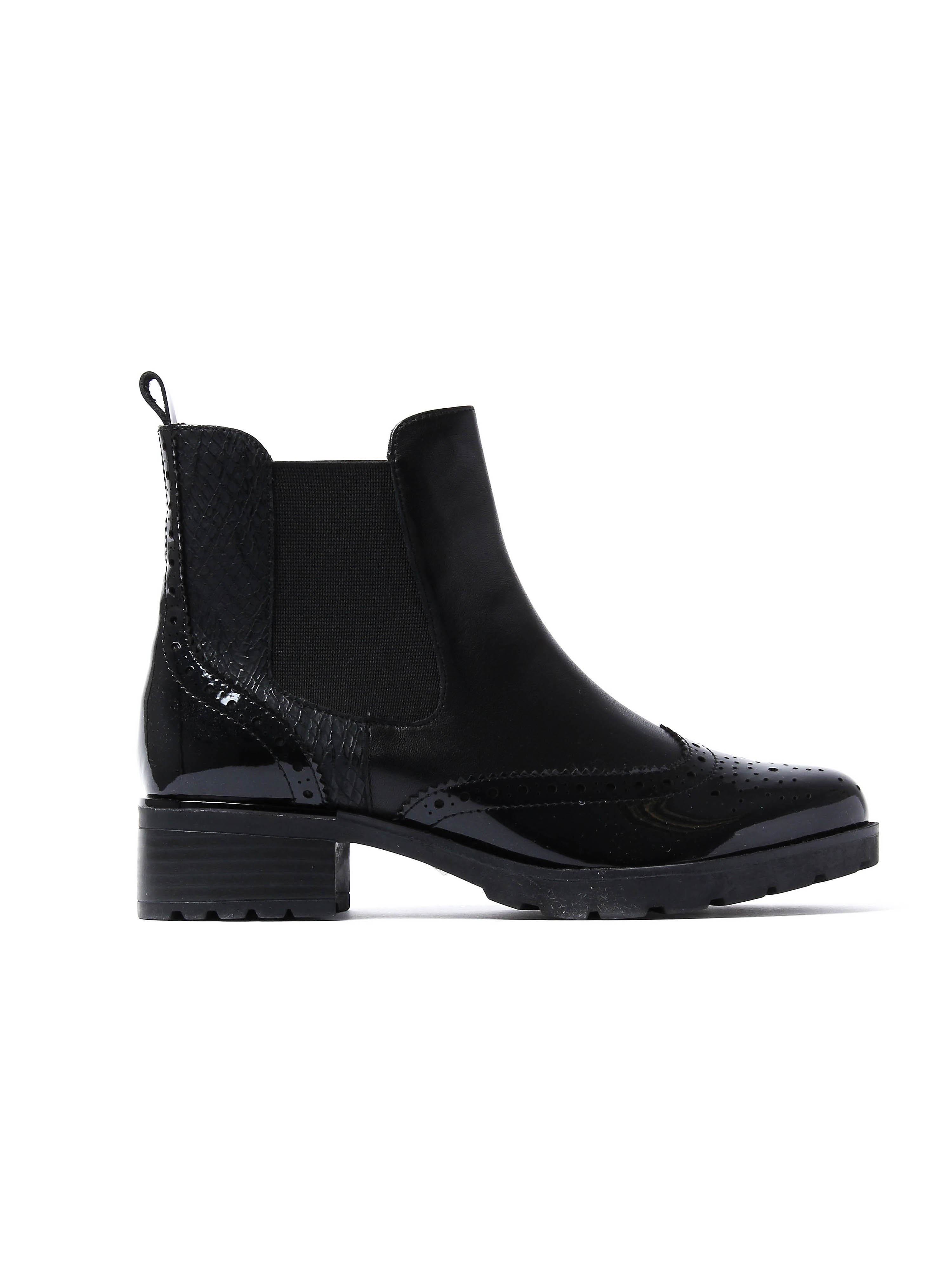 Caprice Women's Brogue Chelsea Ankle Boots - Black Leather