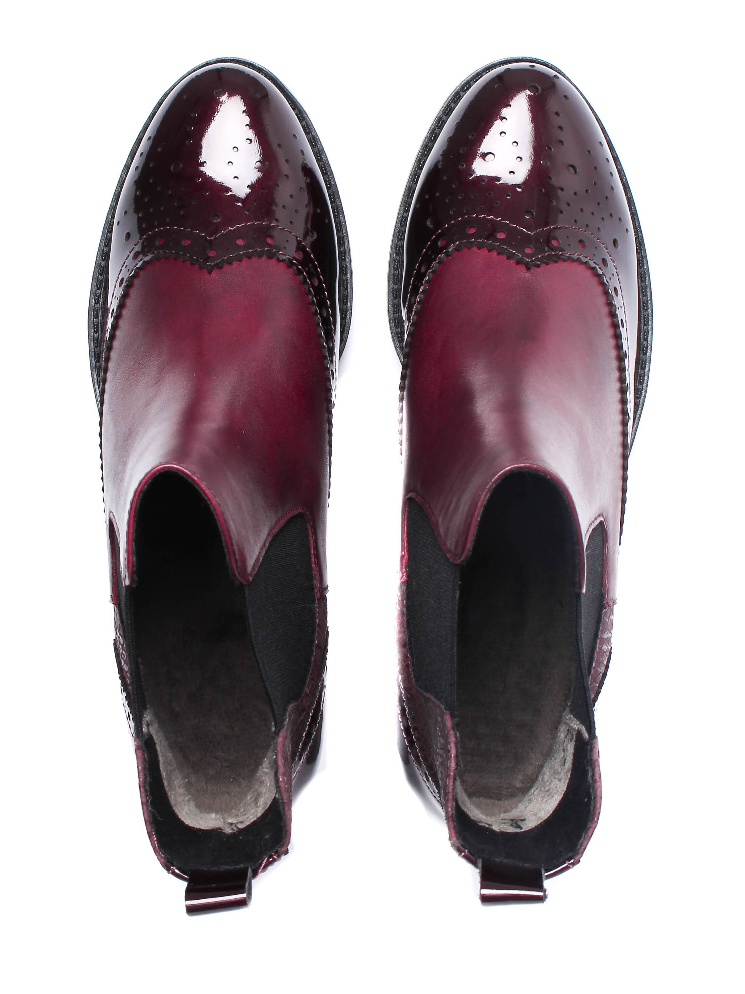 Caprice Women's Brogue Chelsea Ankle Boots - Bordeaux Leather