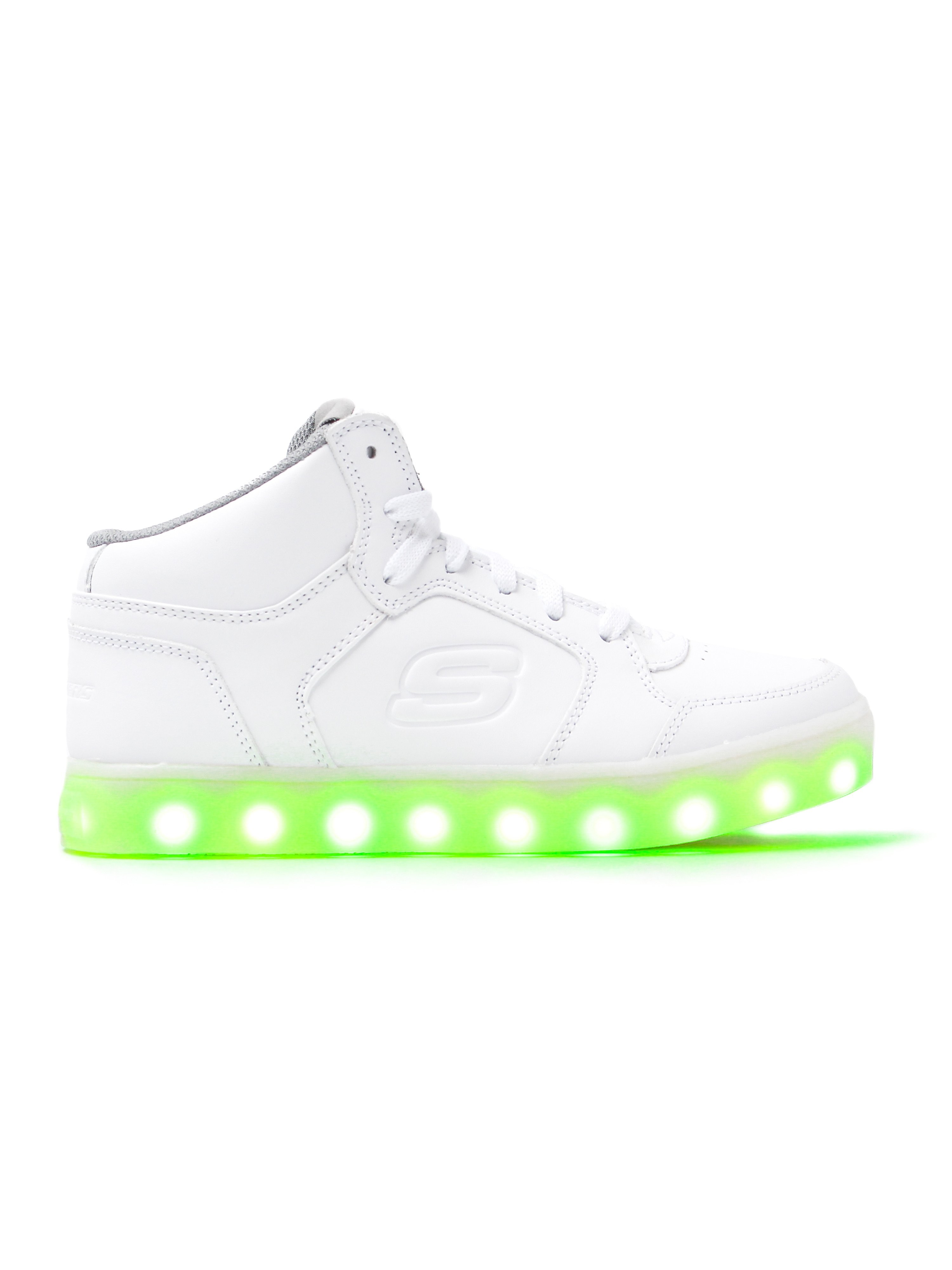 Skechers Kids Energy Lights Trainers - White Leather